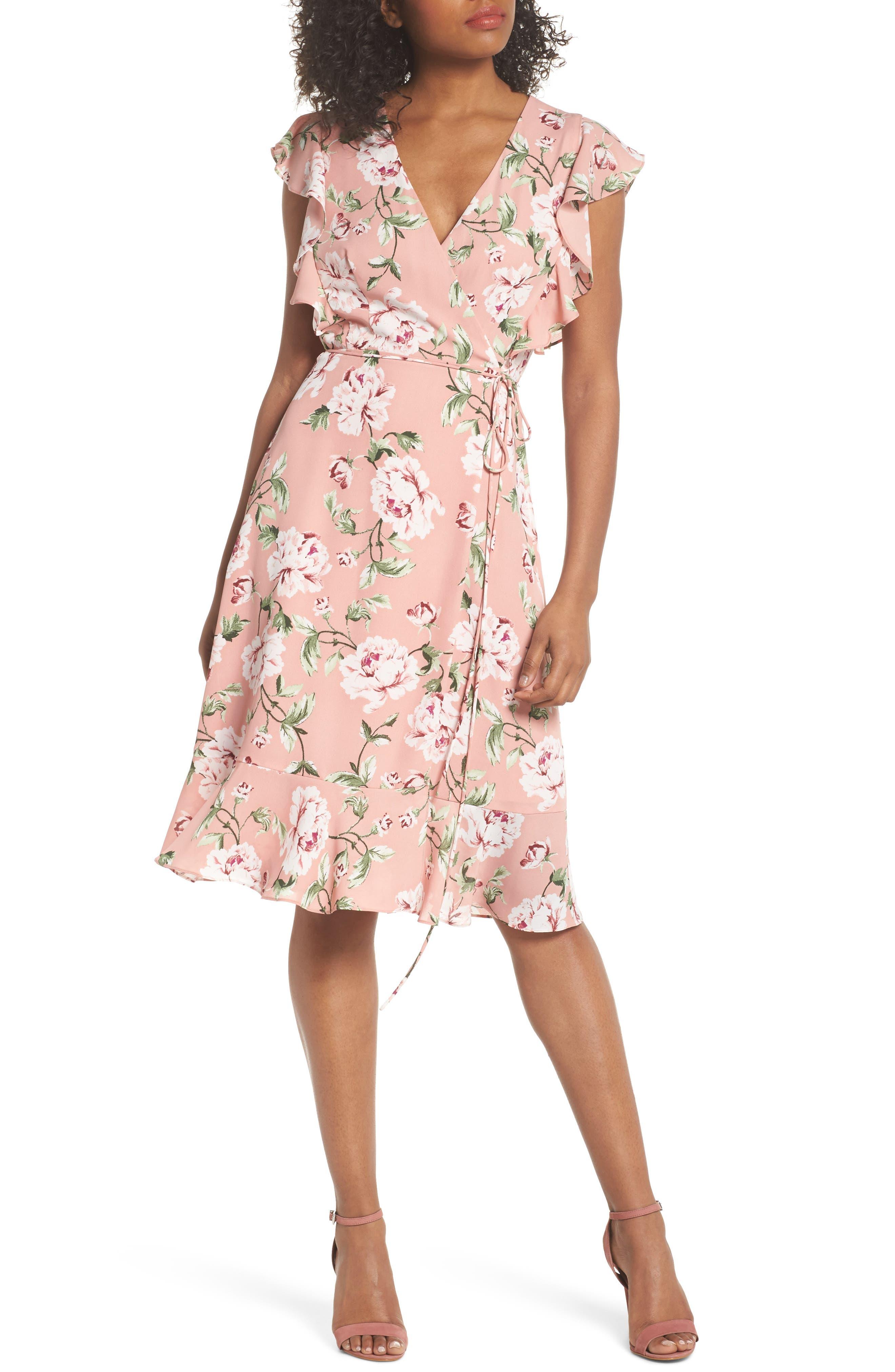 Flutter Sleeve Wrap Dress,                         Main,                         color, Rose Floral