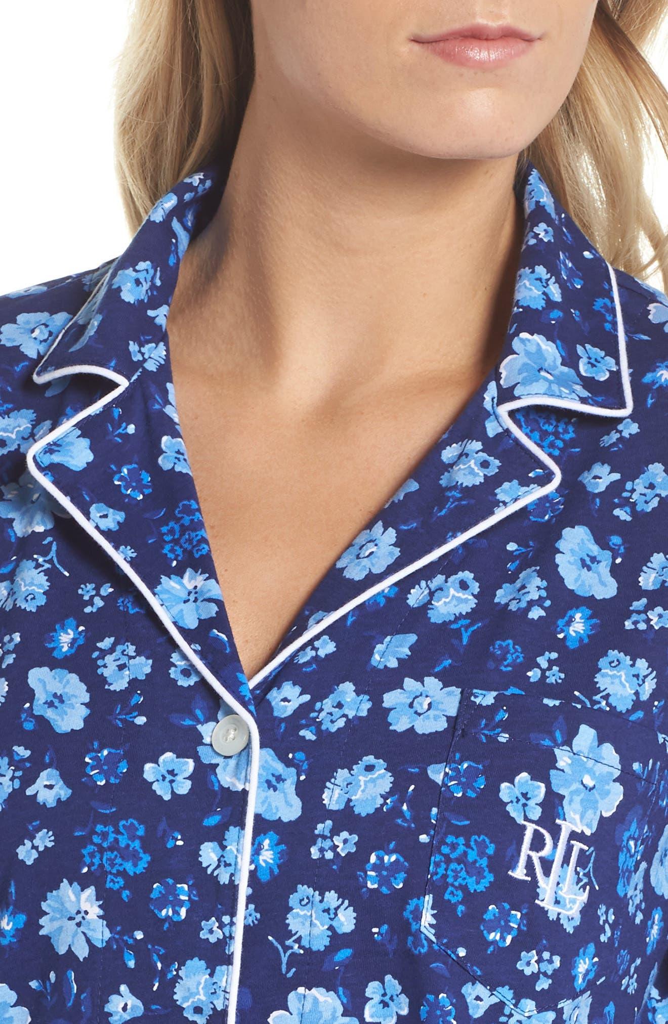 Cropped Pajamas,                             Alternate thumbnail 5, color,                             Blue Floral