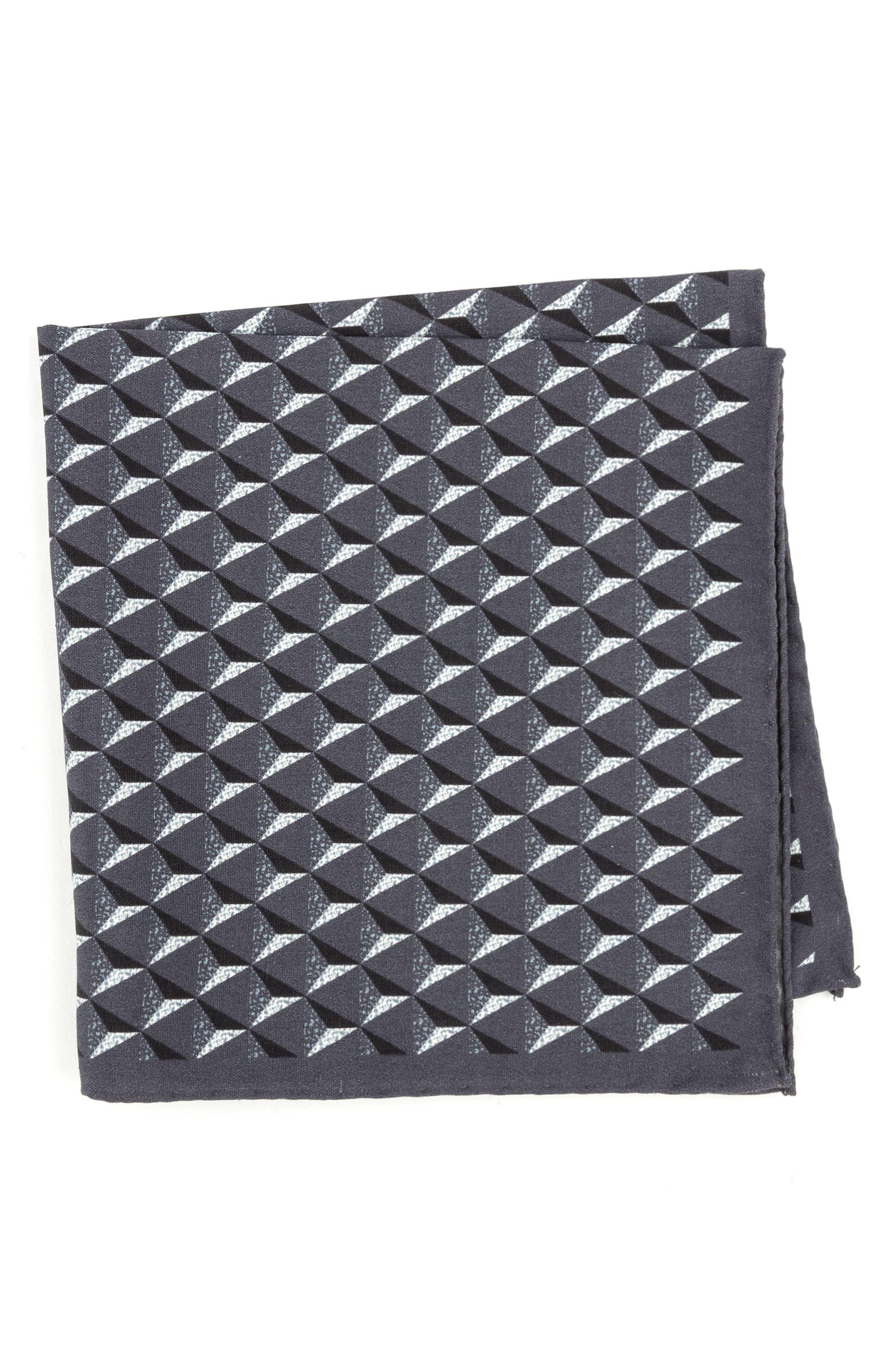 Geometric Silk Pocket Square,                             Main thumbnail 1, color,                             Grey