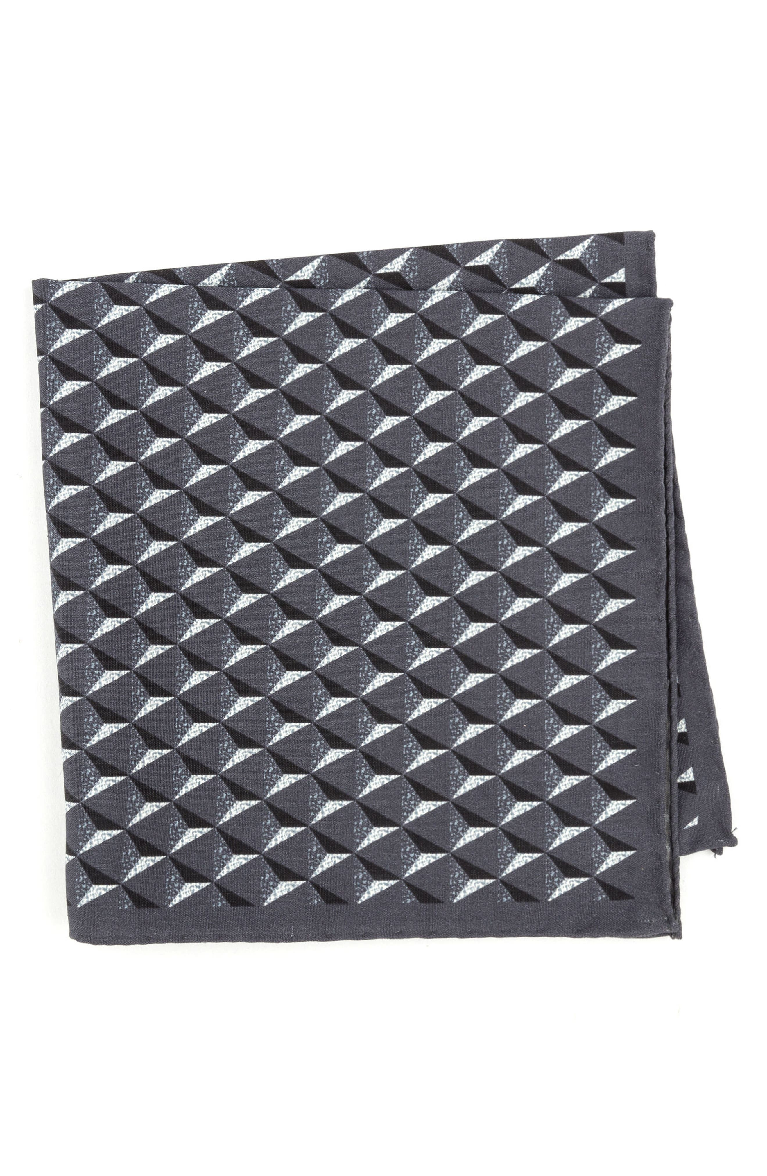 Geometric Silk Pocket Square,                         Main,                         color, Grey