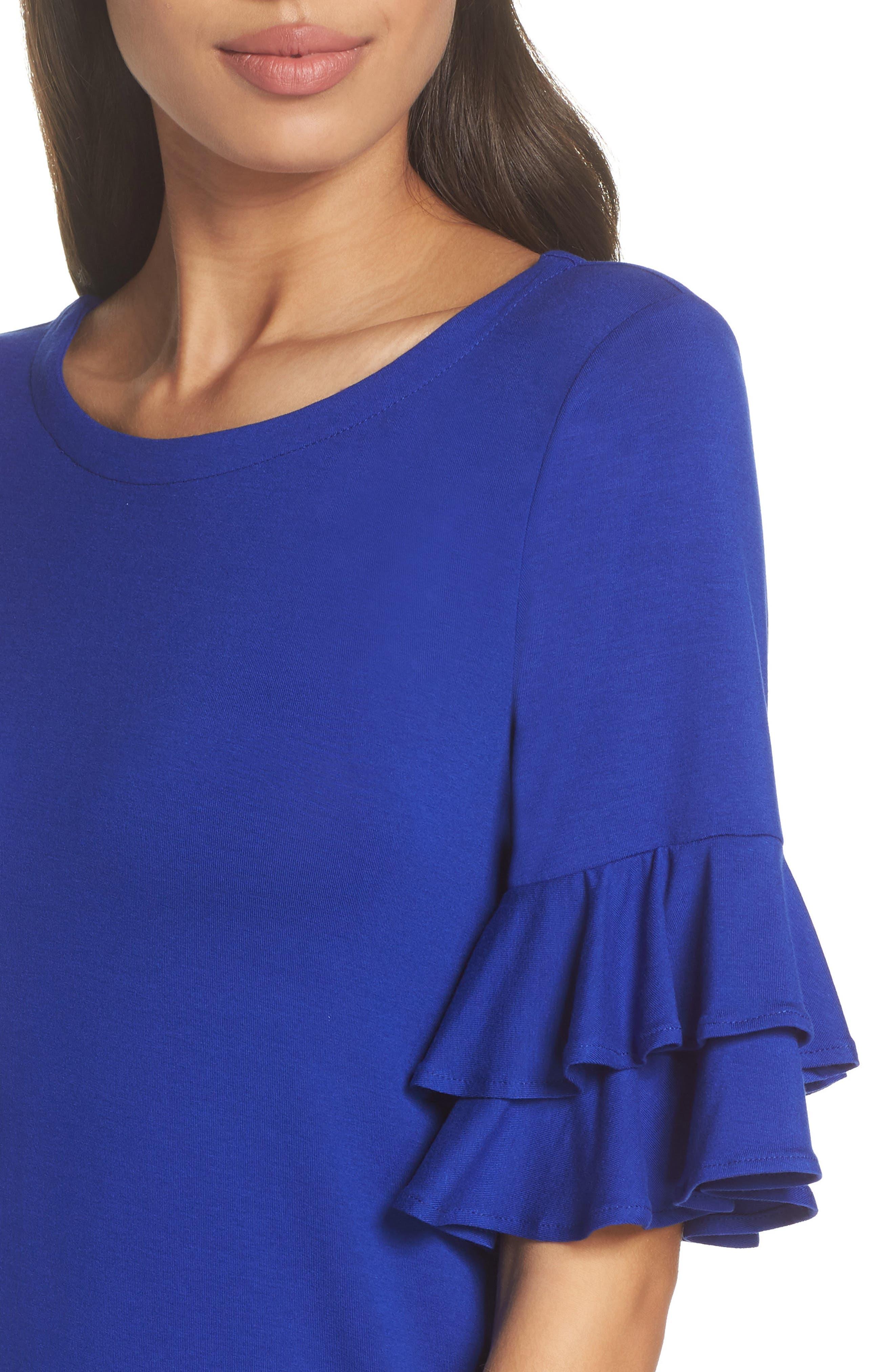 Lula Ruffle Sleeve Dress,                             Alternate thumbnail 4, color,                             Twilight Blue