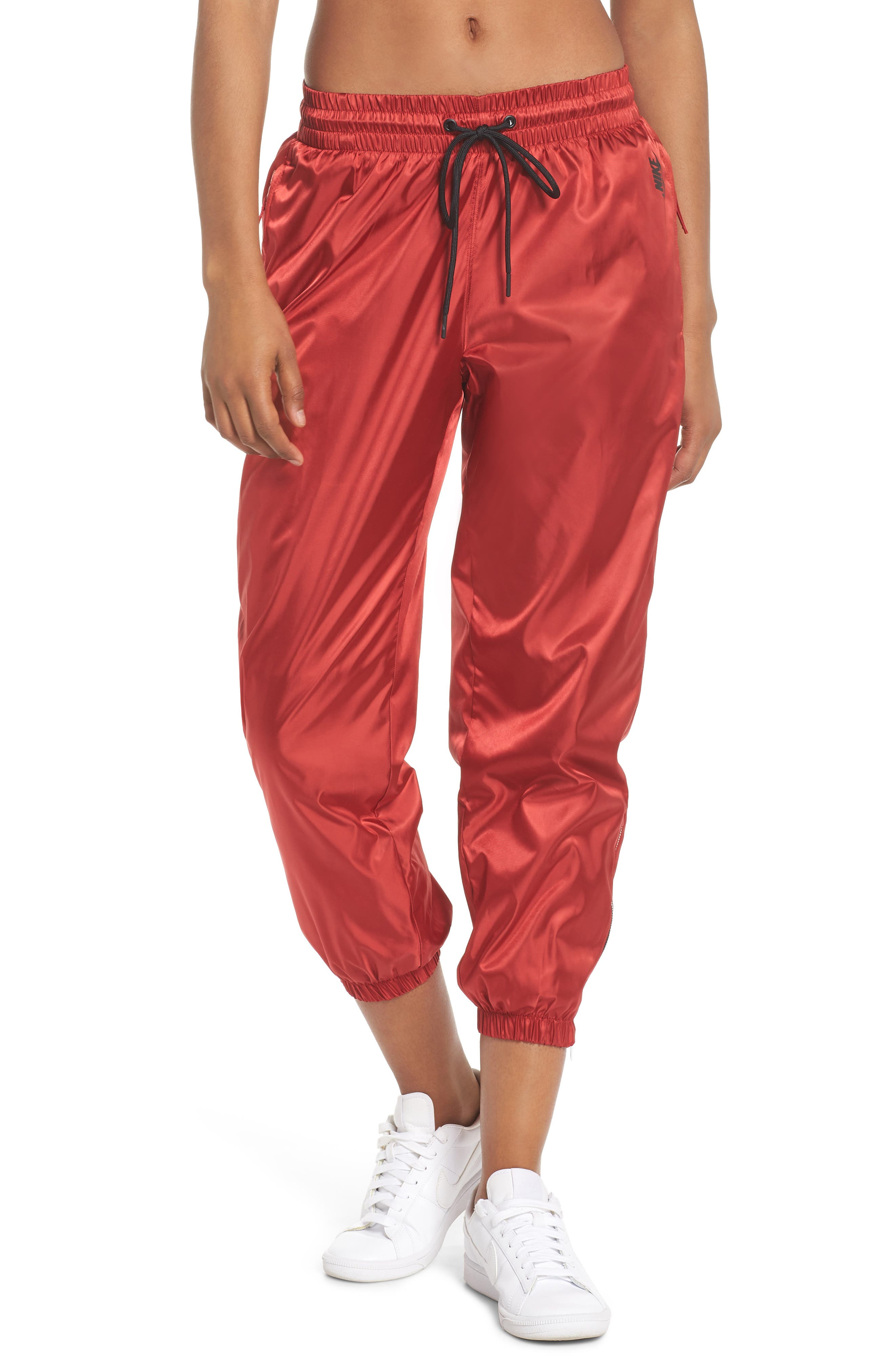 NikeLab Collection Women's Satin Track Pants,                             Main thumbnail 1, color,                             Gym Red/ Black