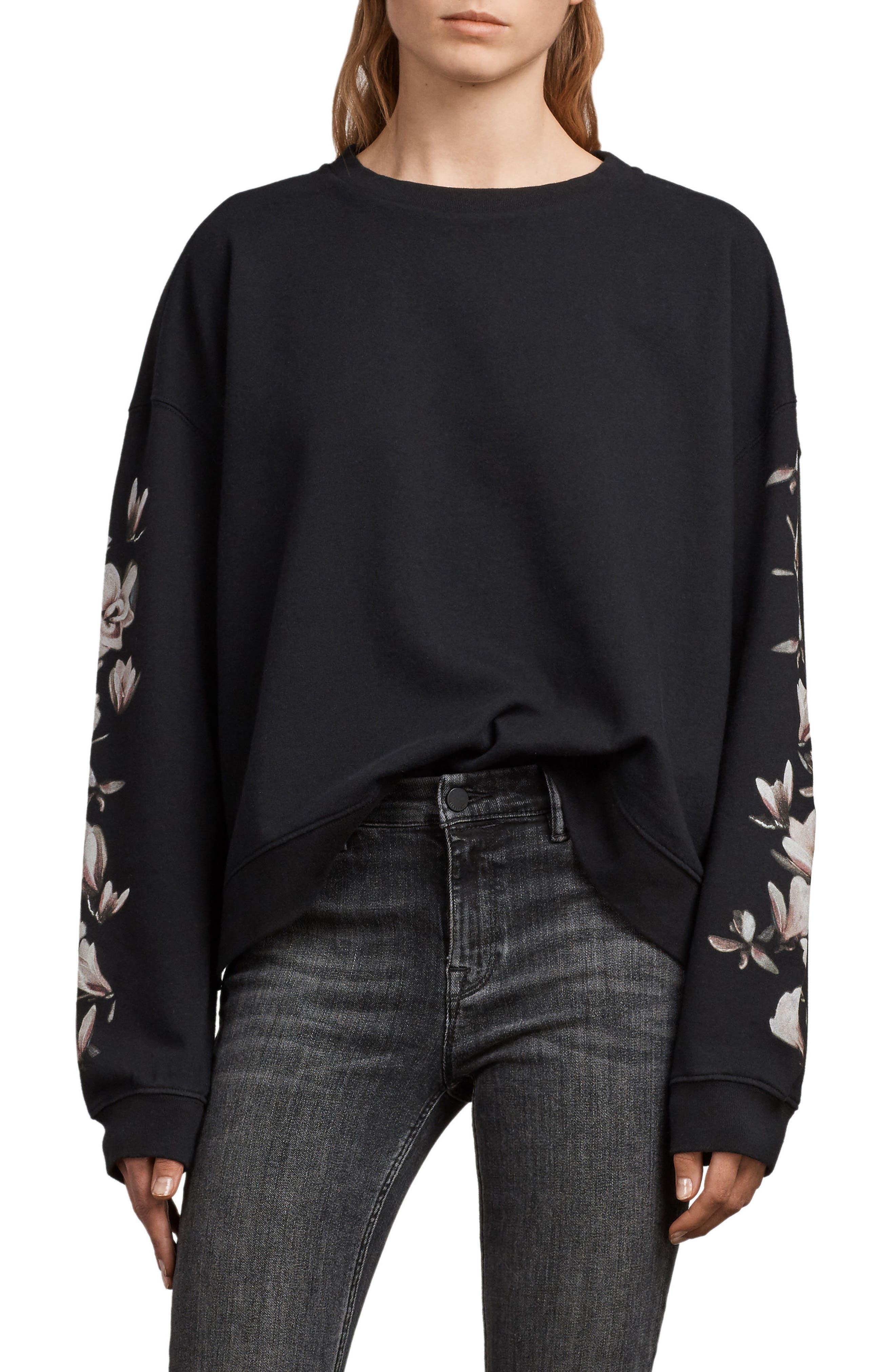 Magnolia Floral Print Cotton Sweatshirt,                             Main thumbnail 1, color,                             Black
