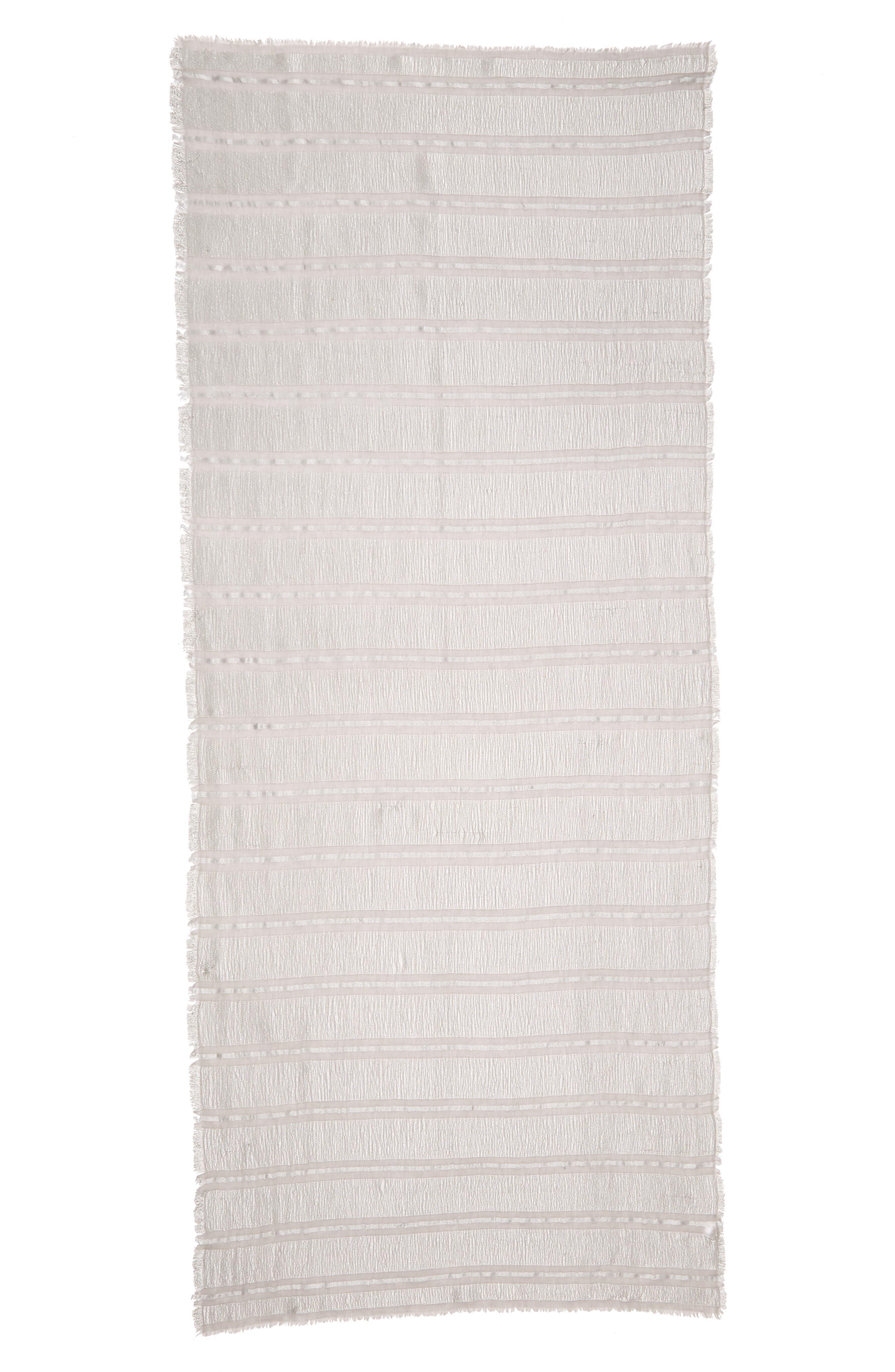 Metallic Stripe Scarf,                             Alternate thumbnail 3, color,                             Grey