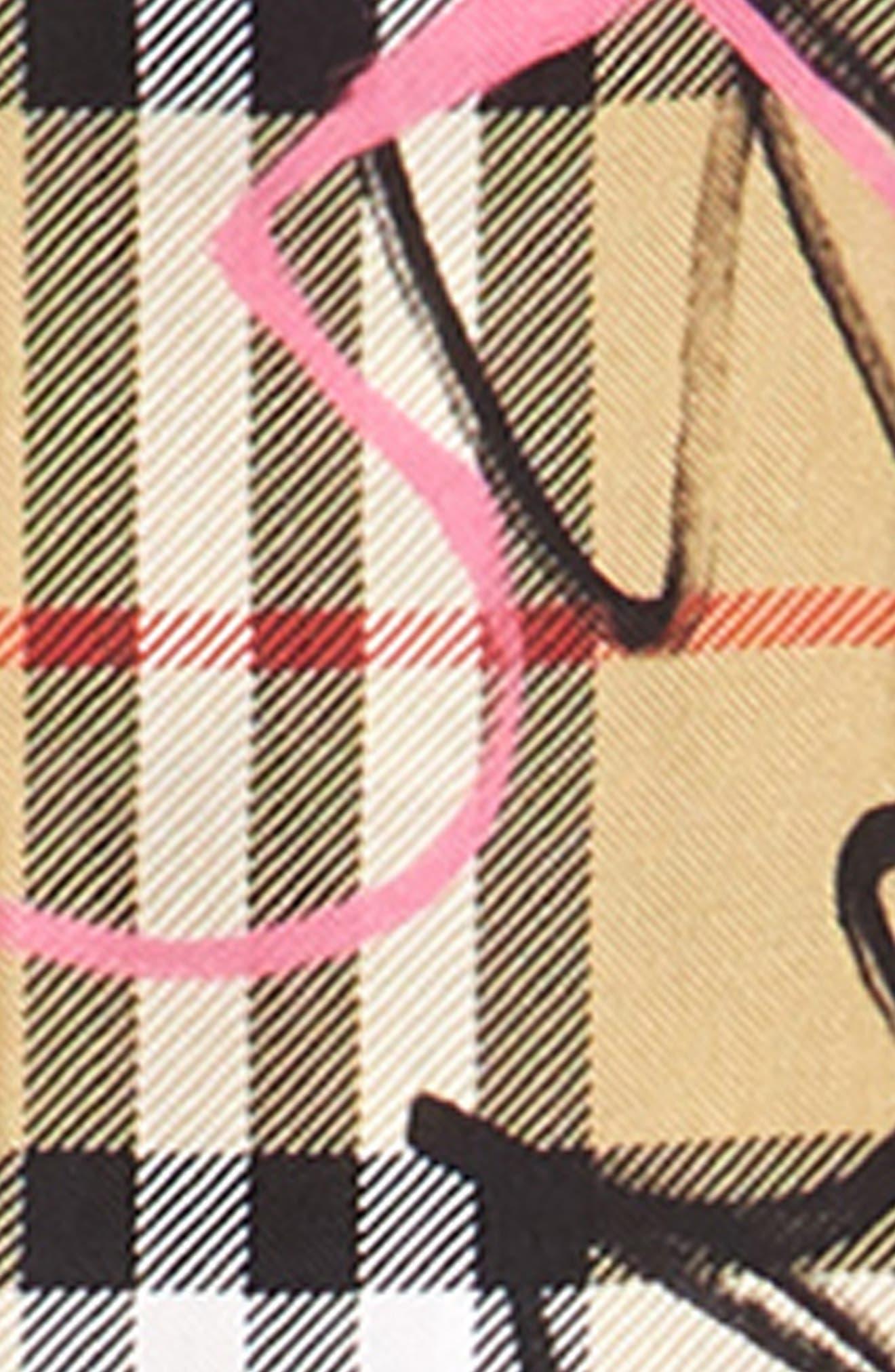 Scribble Vintage Check Silk Scarf,                             Alternate thumbnail 3, color,                             Pale Antique Yellow