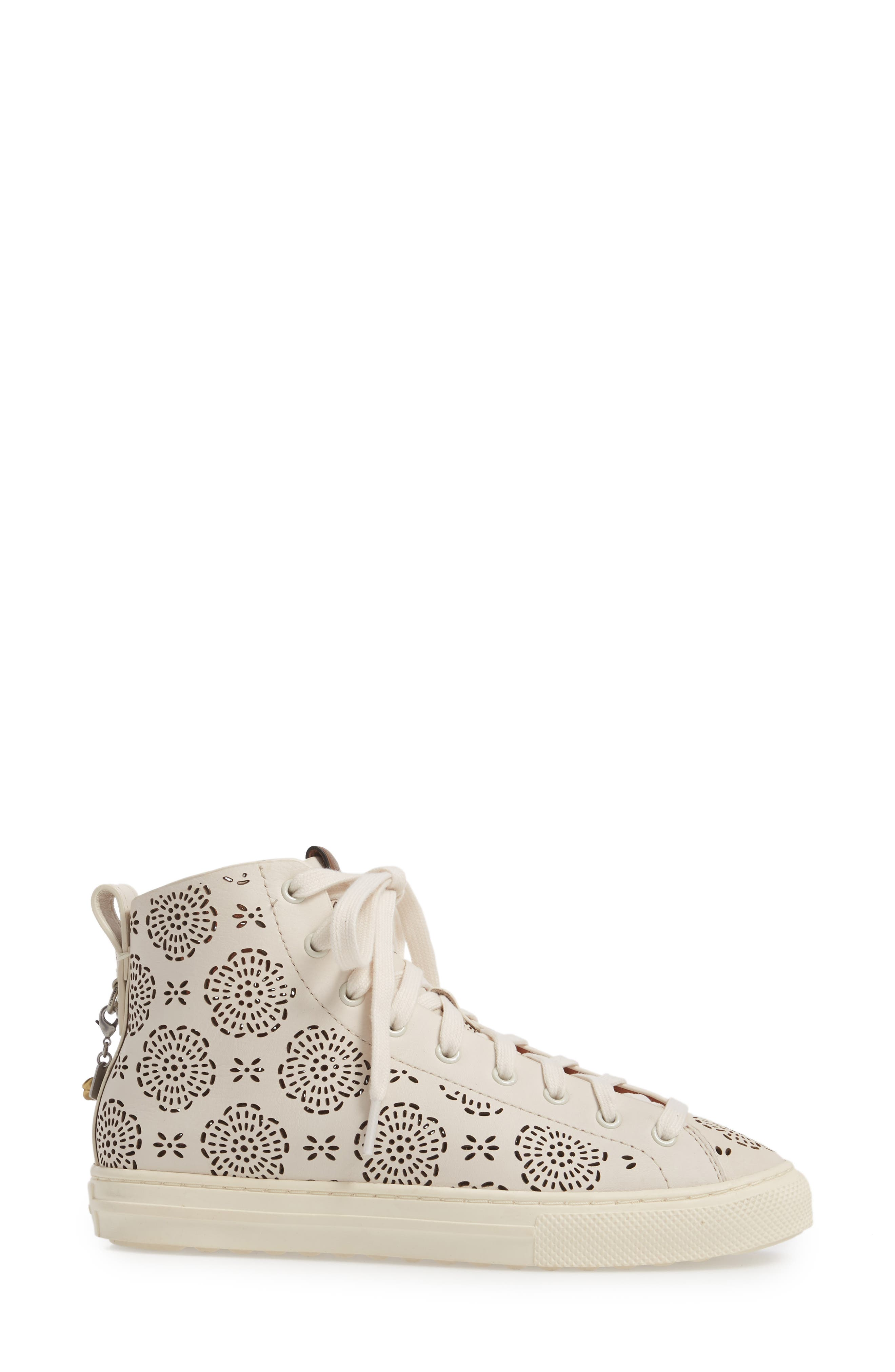 Tea Rose Cutout High Top Sneaker,                             Alternate thumbnail 3, color,                             Chalk Leather