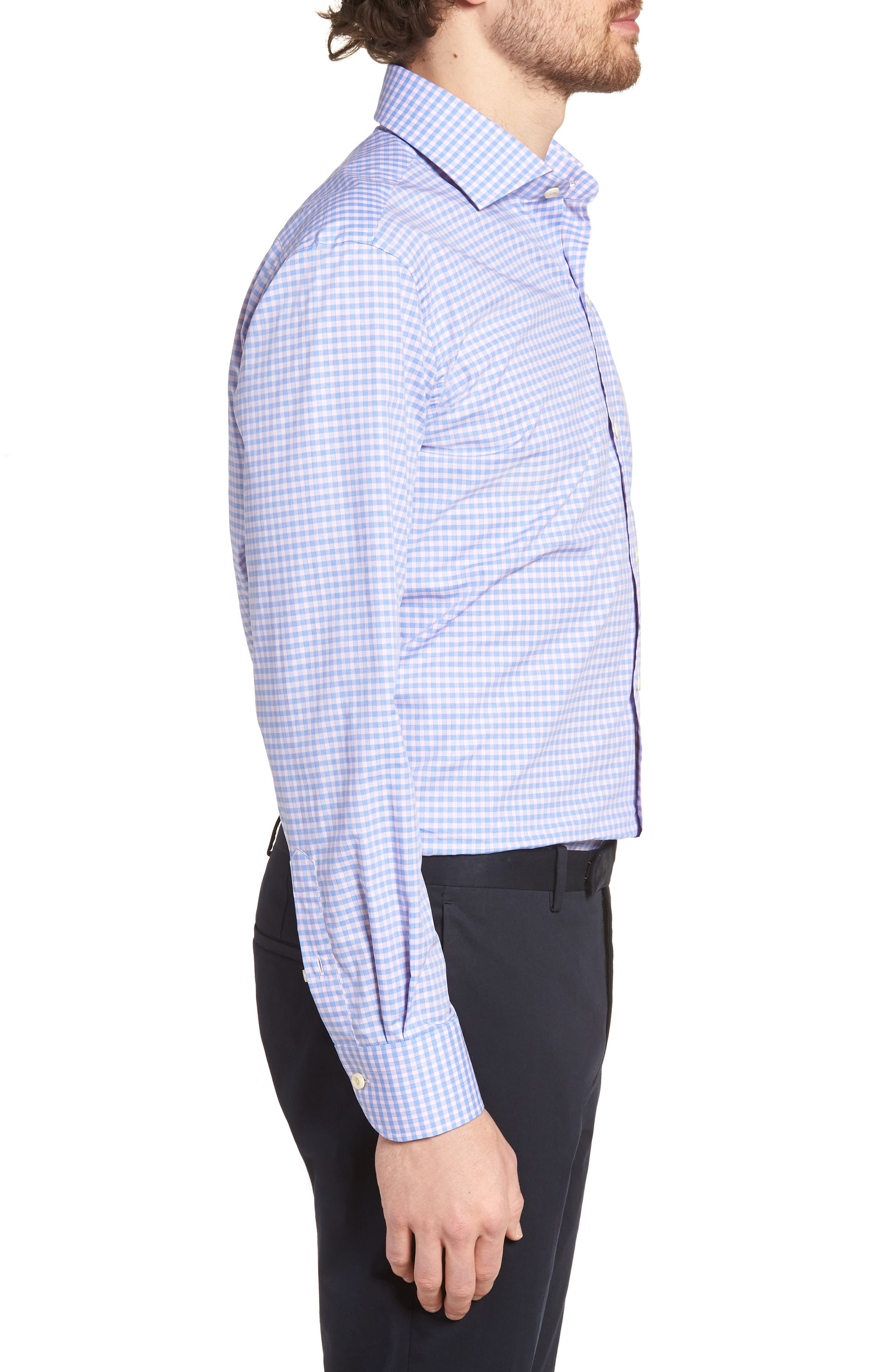 Prestwick Slim Fit Check Dress Shirt,                             Alternate thumbnail 3, color,                             Pink