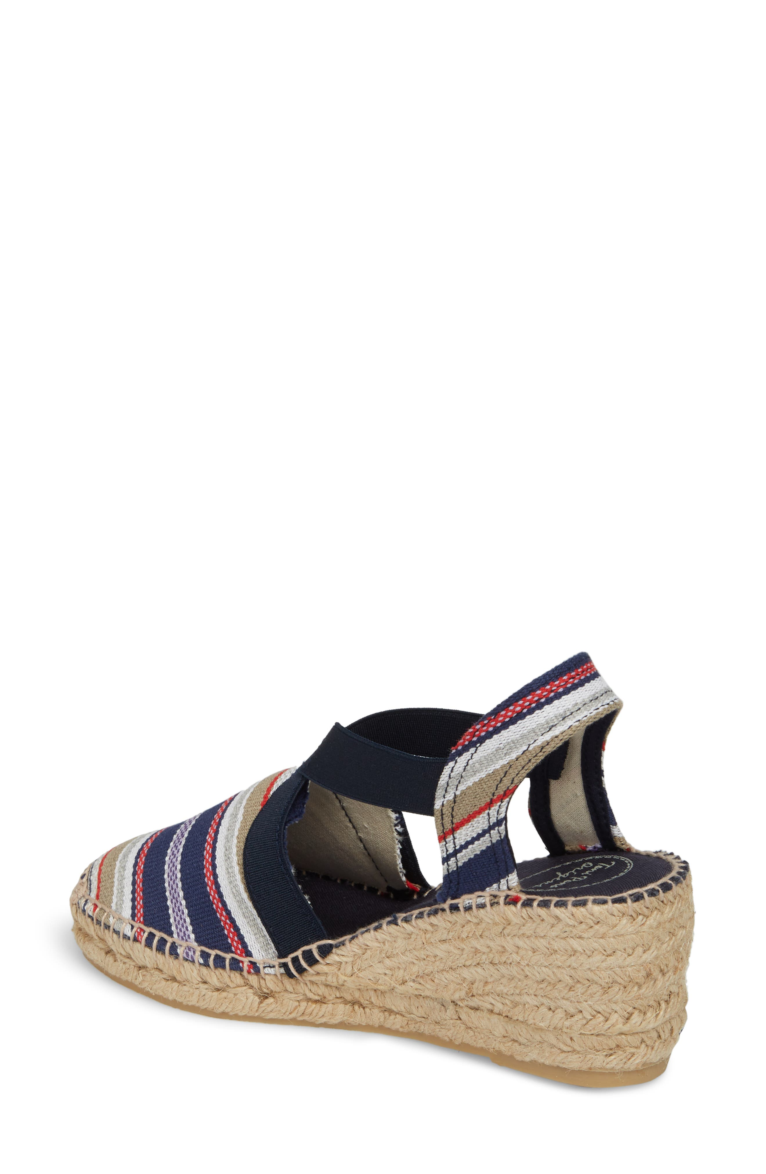 'Tarbes' Espadrille Wedge Sandal,                             Alternate thumbnail 2, color,                             Navy Fabric