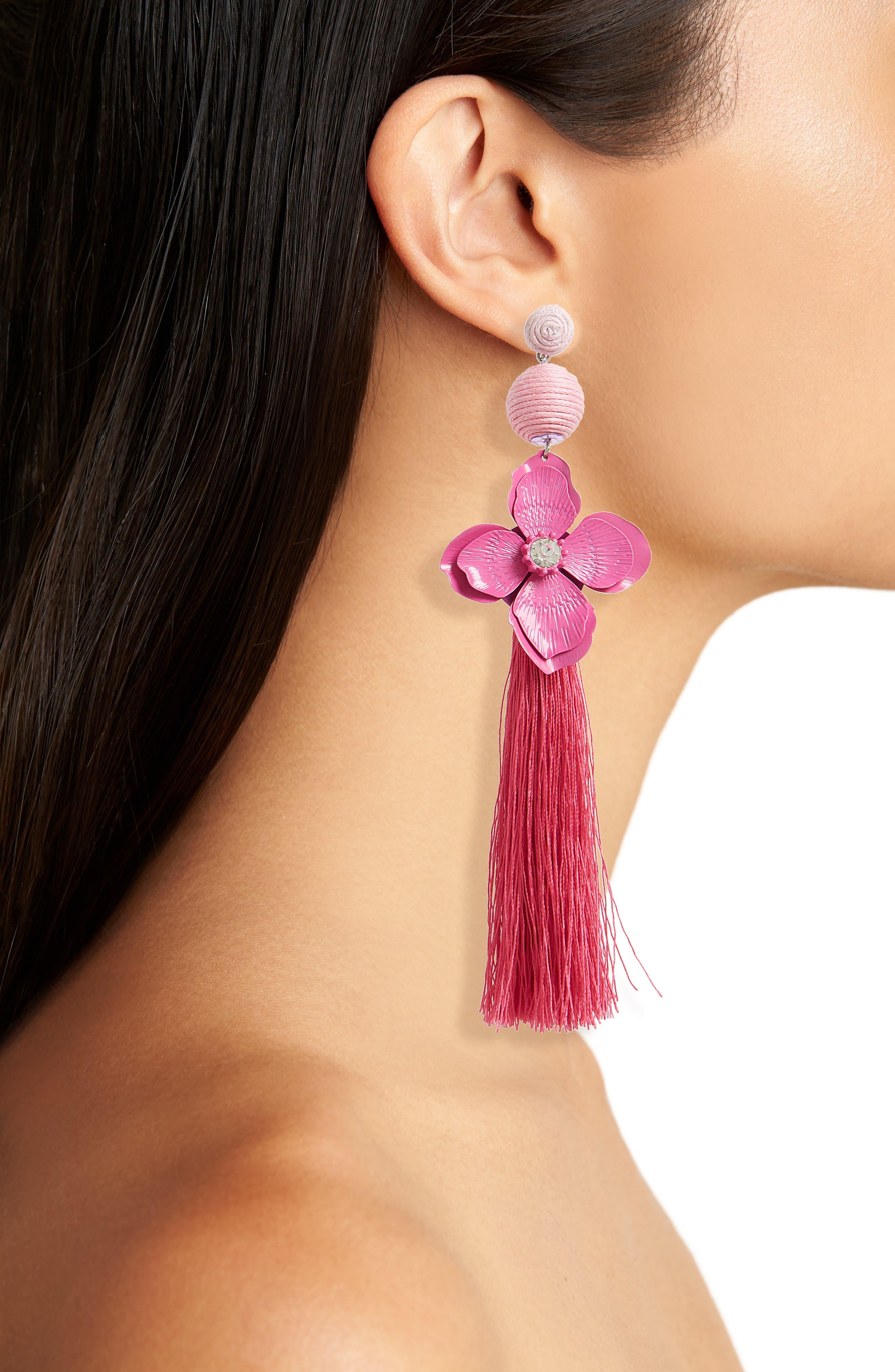 Flower Tassel Drop Earrings,                             Alternate thumbnail 2, color,                             Pink Multi
