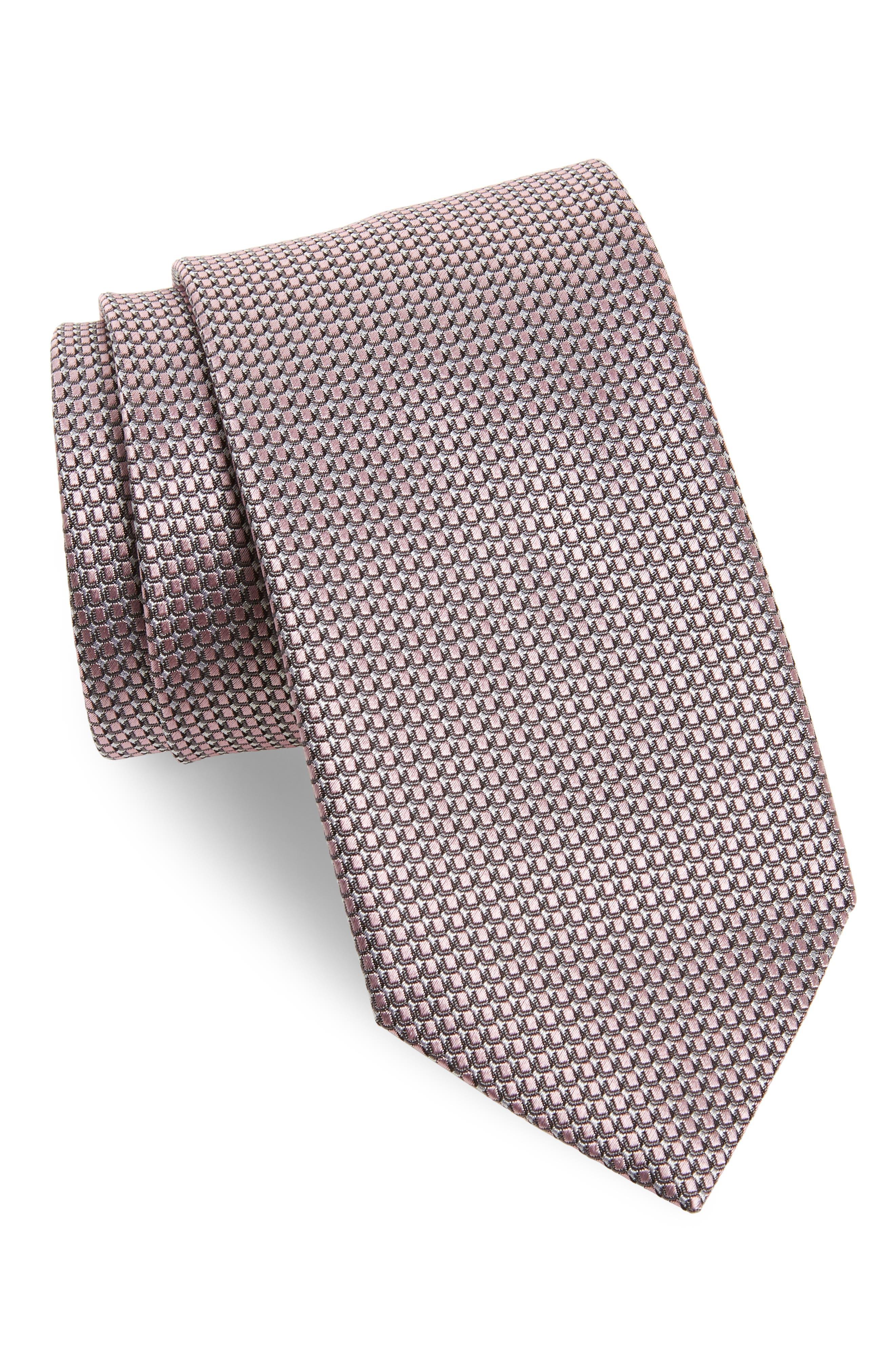 Solid Silk Tie,                             Main thumbnail 1, color,                             Pink/ Grey