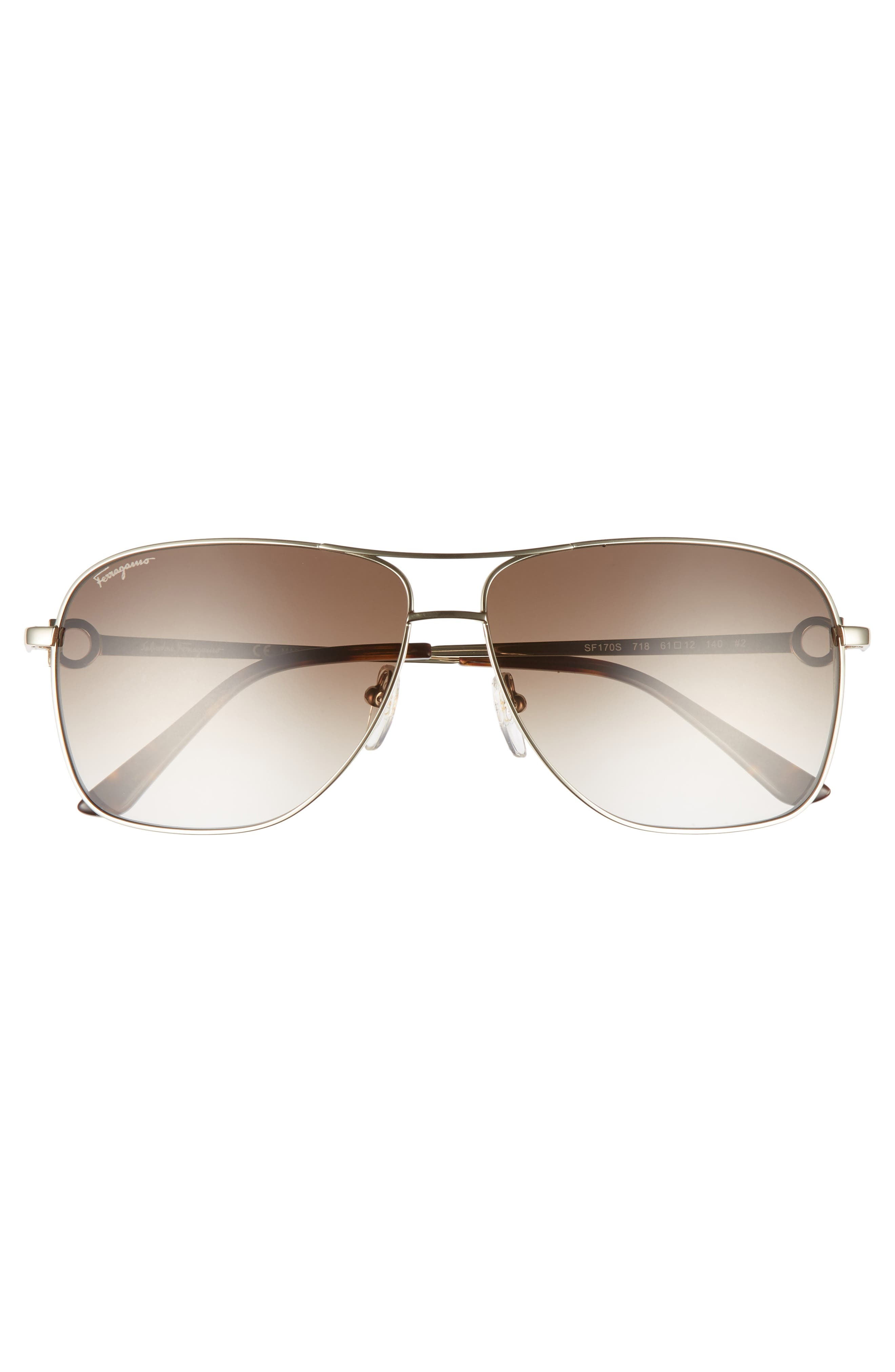 Alternate Image 2  - Salvatore Ferragamo Gancio 61mm Aviator Sunglasses