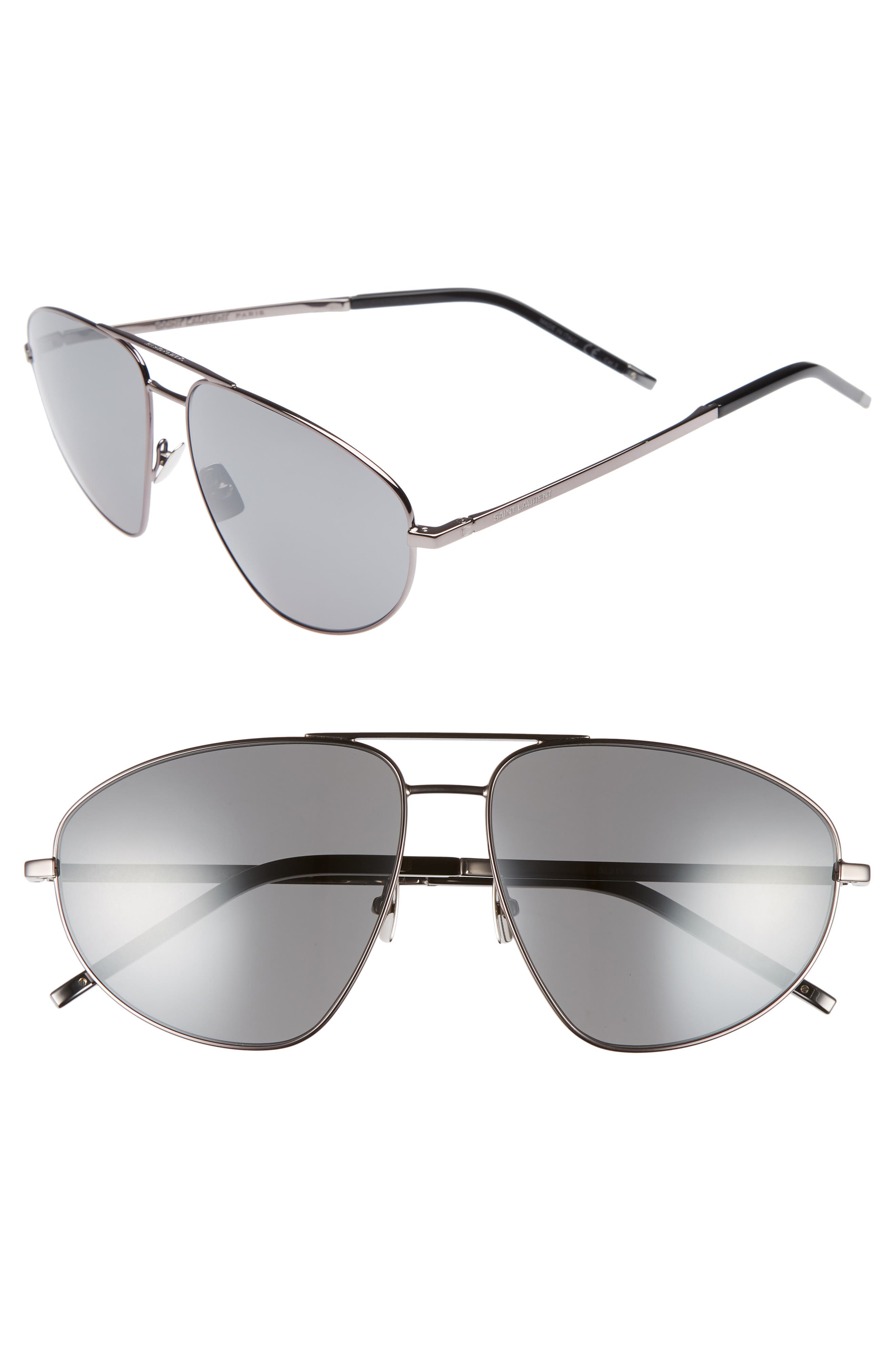 SL 211 60mm Aviator Sunglasses,                         Main,                         color, Dark Ruthenium/ Black
