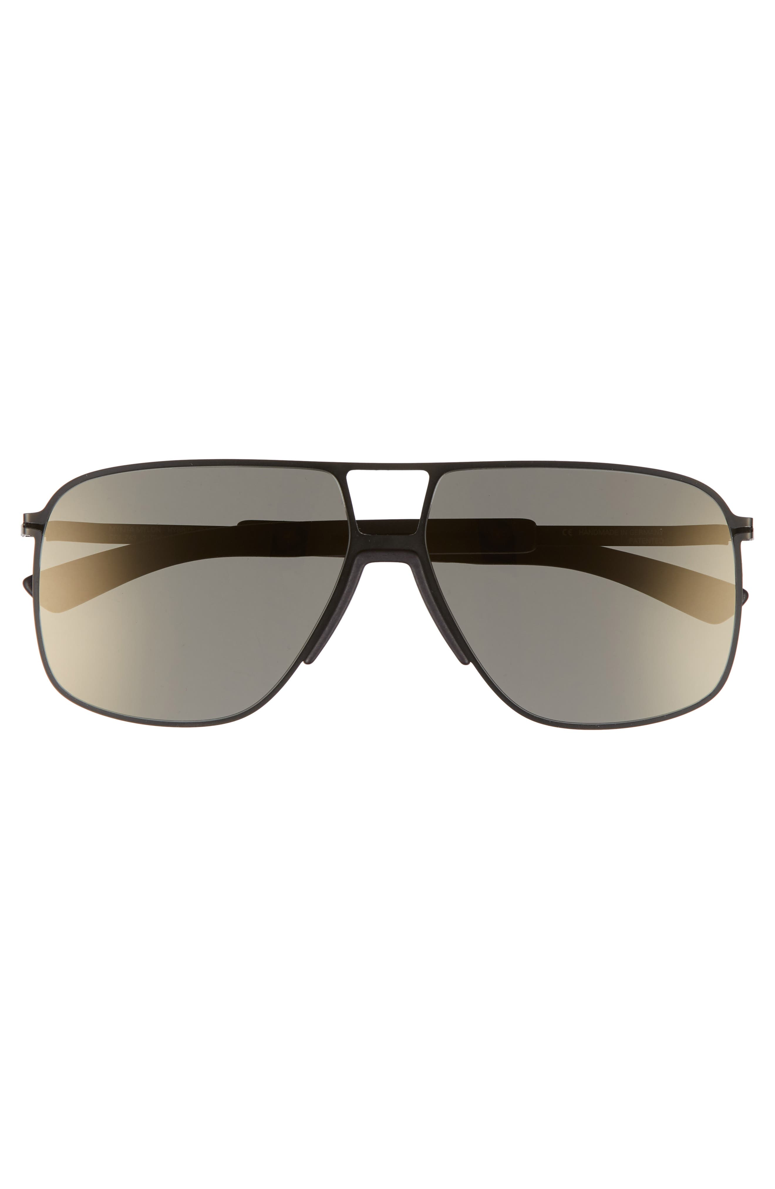 Oak 61mm Aviator Sunglasses,                             Alternate thumbnail 2, color,                             Black/ Pitch Black