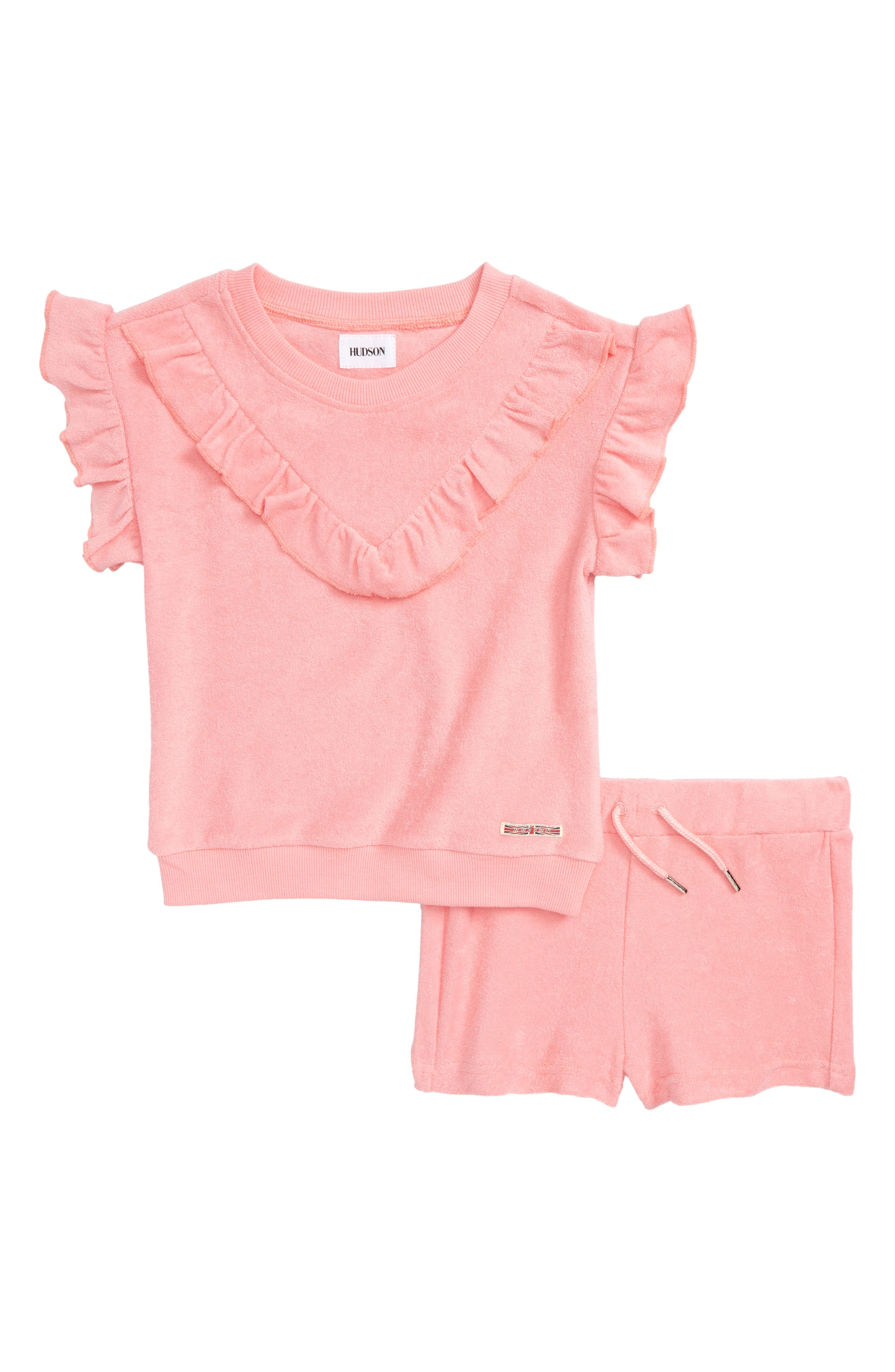 French Terry Ruffle Top & Shorts Set,                             Main thumbnail 1, color,                             Coral