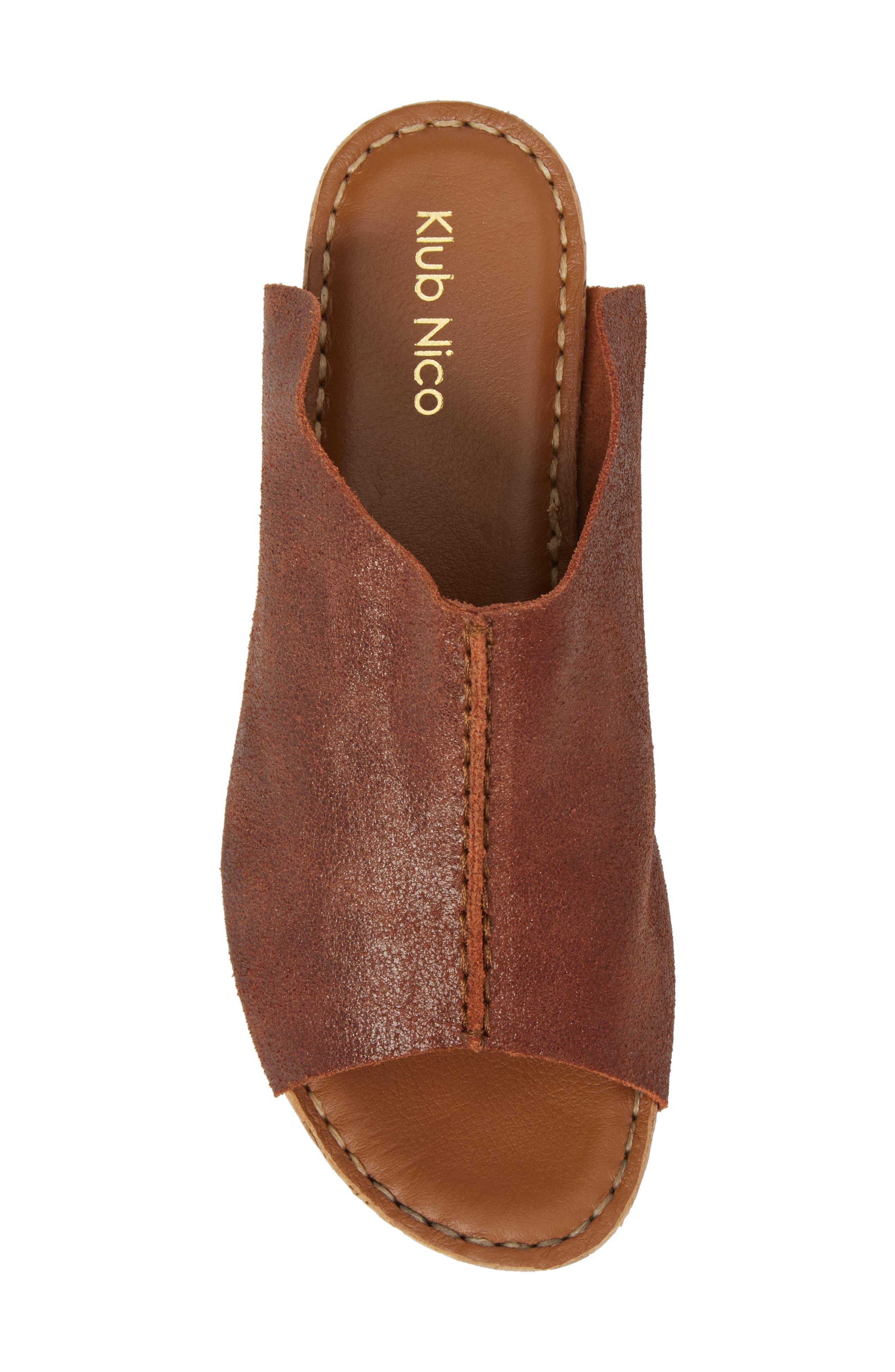 Gracey Slide Sandal,                             Alternate thumbnail 5, color,                             Rum Leather