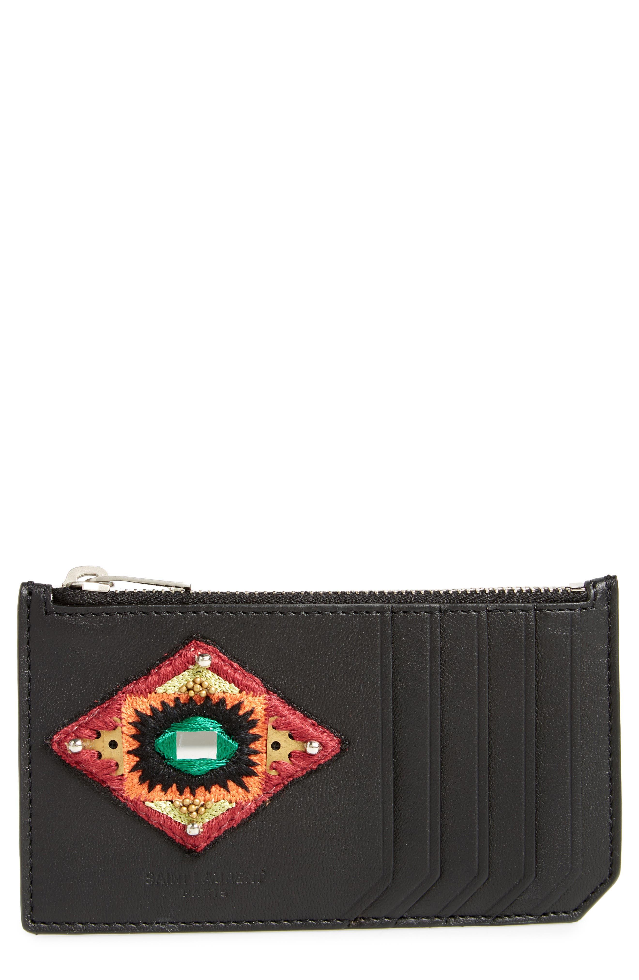 Leather Card Case,                         Main,                         color, Black Multi