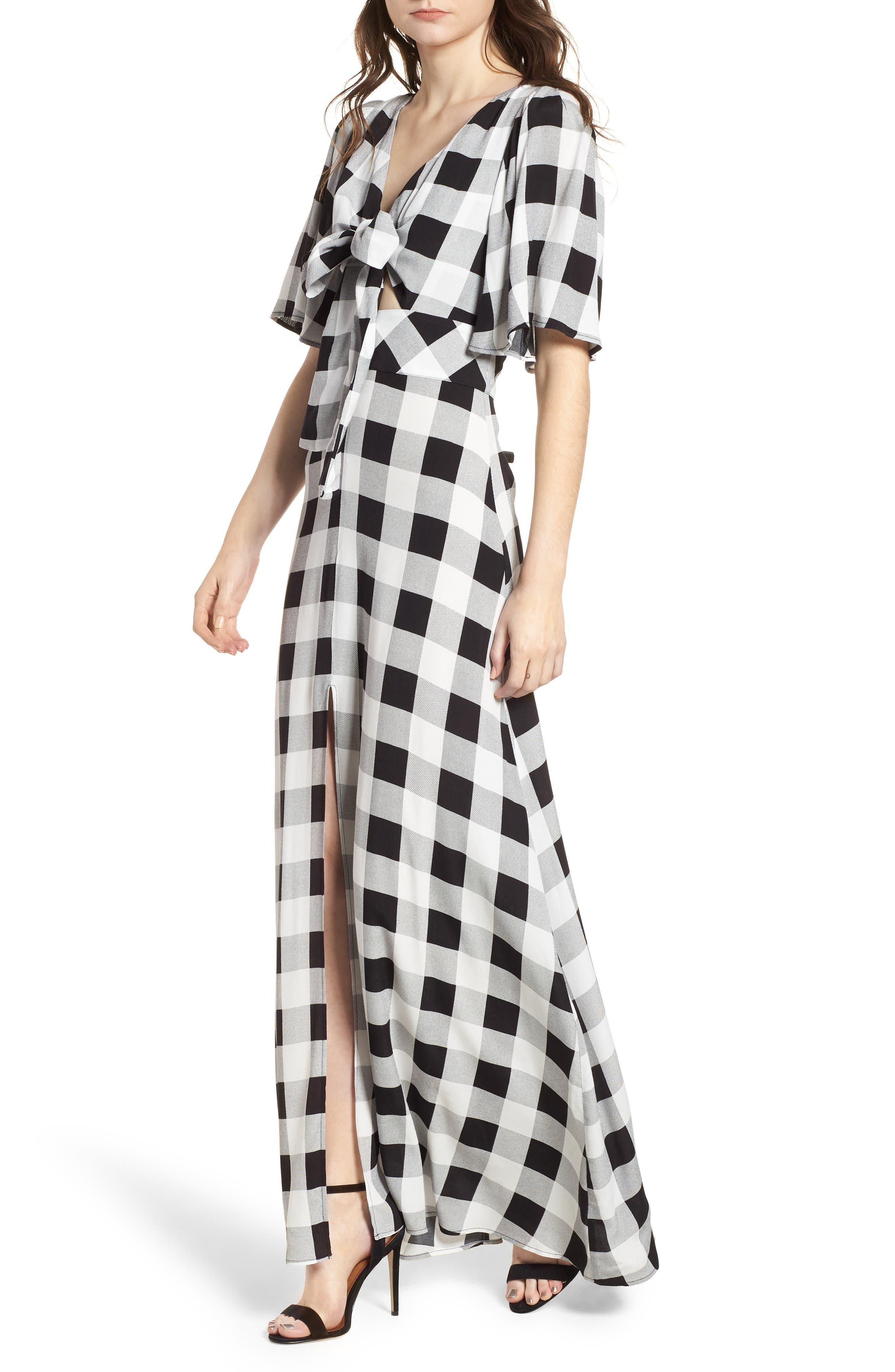 Ramon Tie Front Maxi Dress,                         Main,                         color, Noir Blanc Gingham