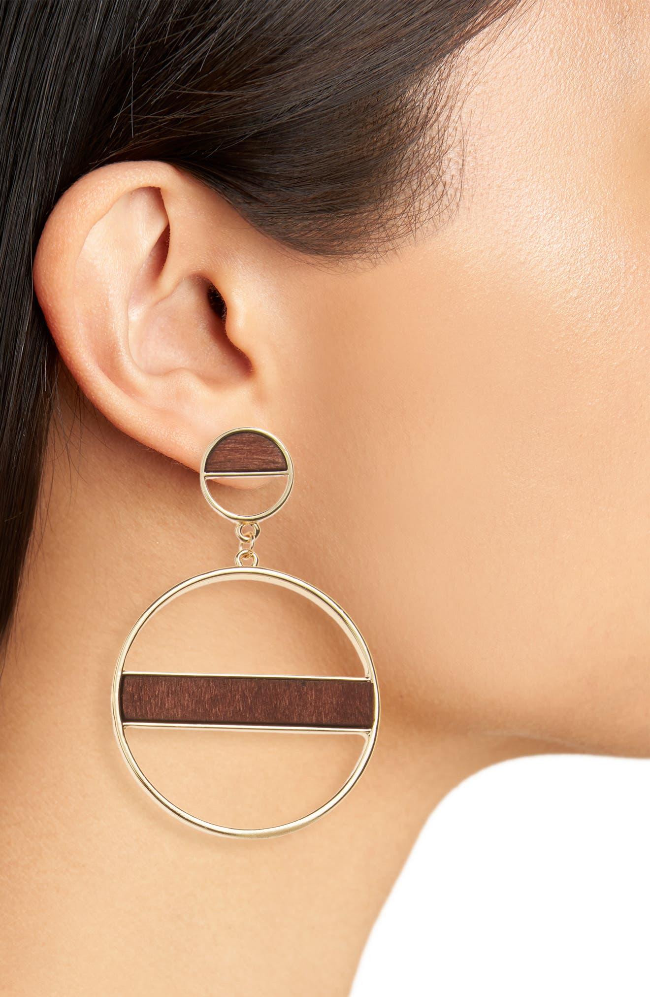 Wood Detail Hoop Earrings,                             Alternate thumbnail 2, color,                             Gold/ Wood