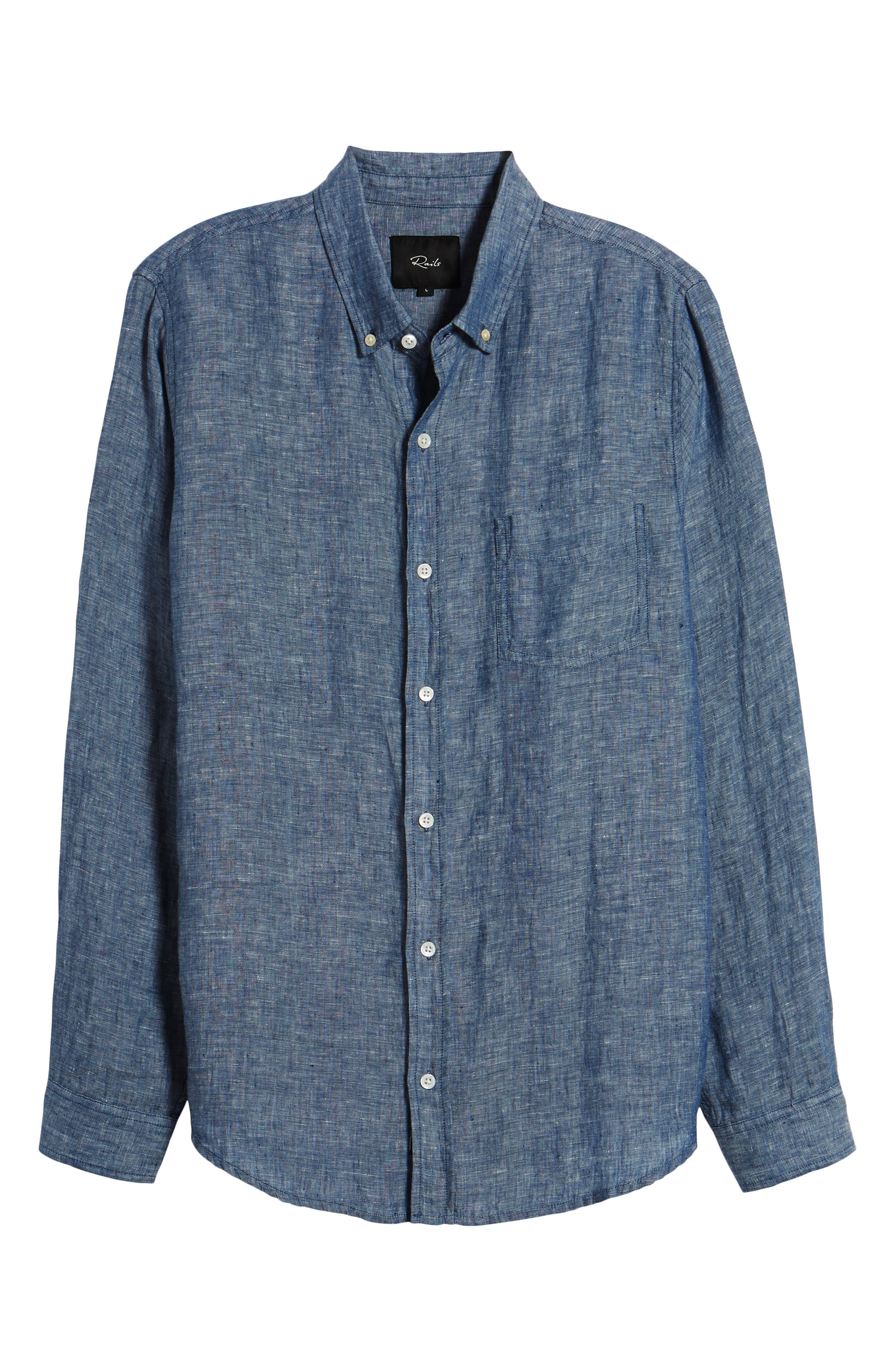 Bennett Linen Sport Shirt,                             Alternate thumbnail 6, color,                             Chambray Blue