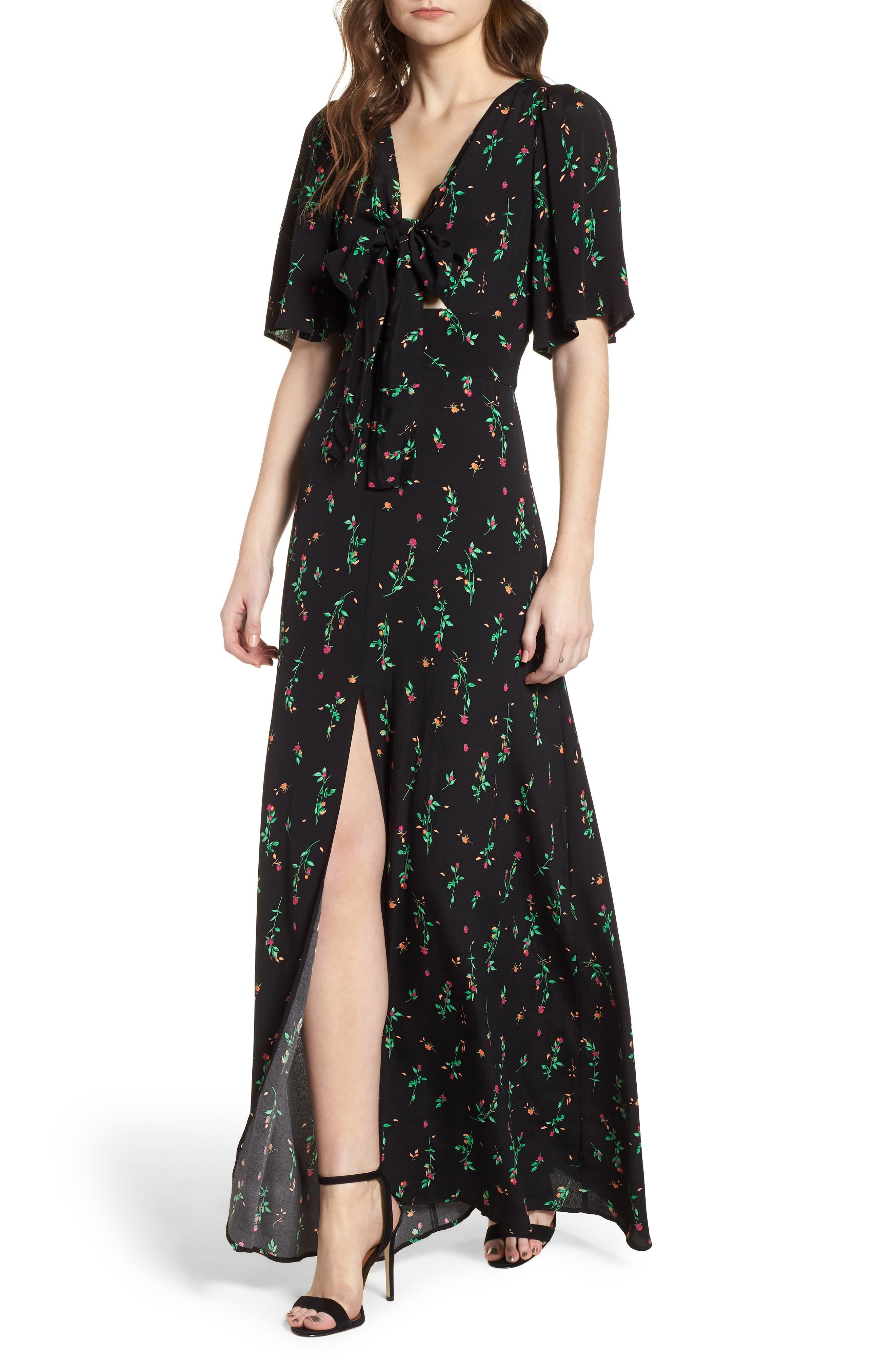 Ramon Tie Front Maxi Dress,                         Main,                         color, Noir Rose Ditsy