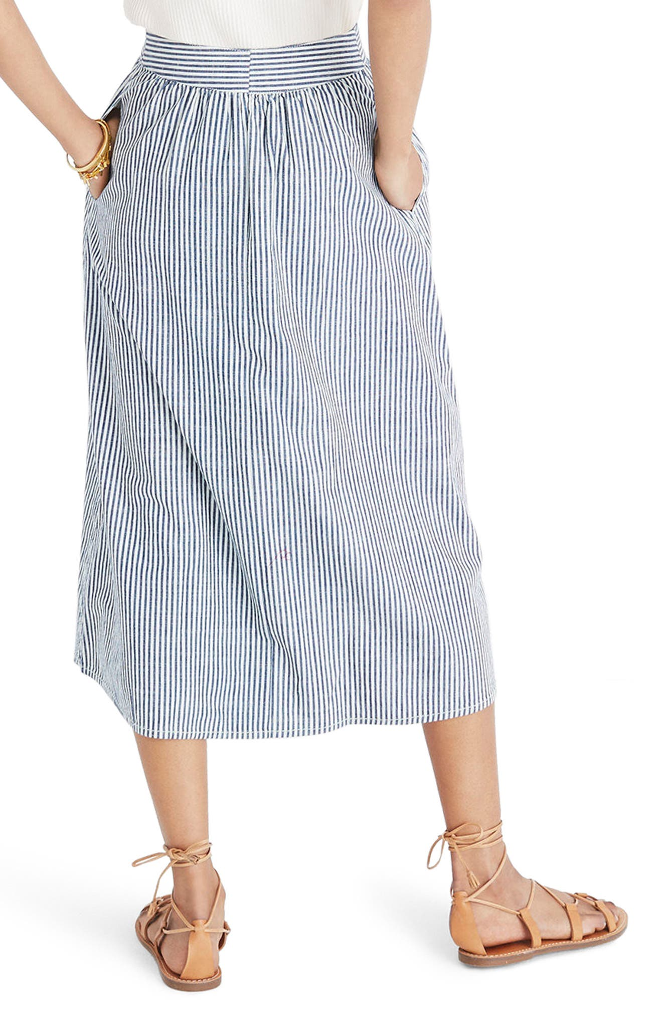 Palisade Chambray Stripe Button Front Midi Skirt,                             Alternate thumbnail 2, color,                             Chambray Stripe