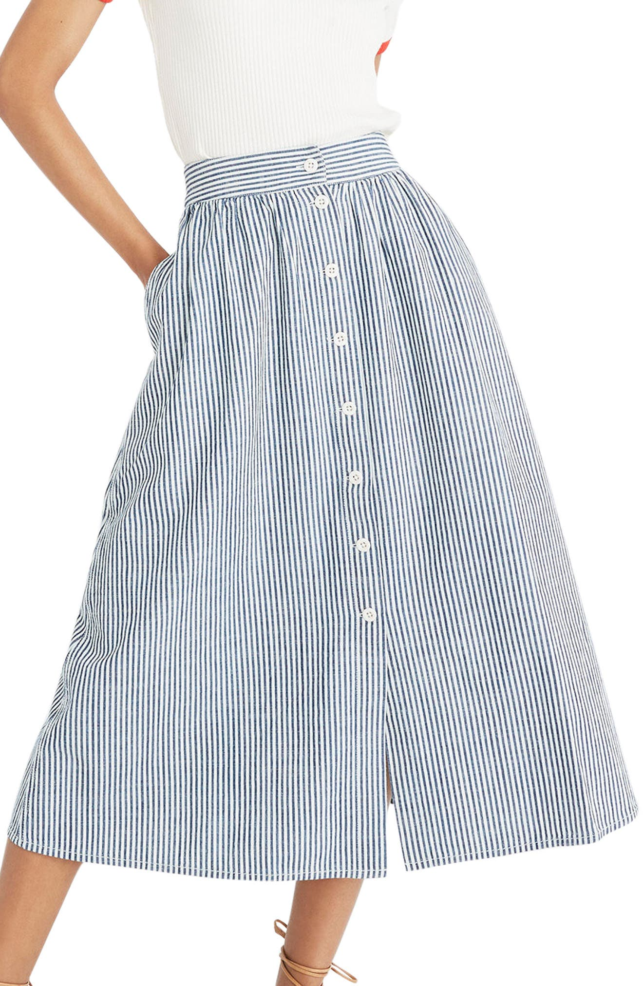 Madewell Palisade Chambray Stripe Button Front Midi Skirt