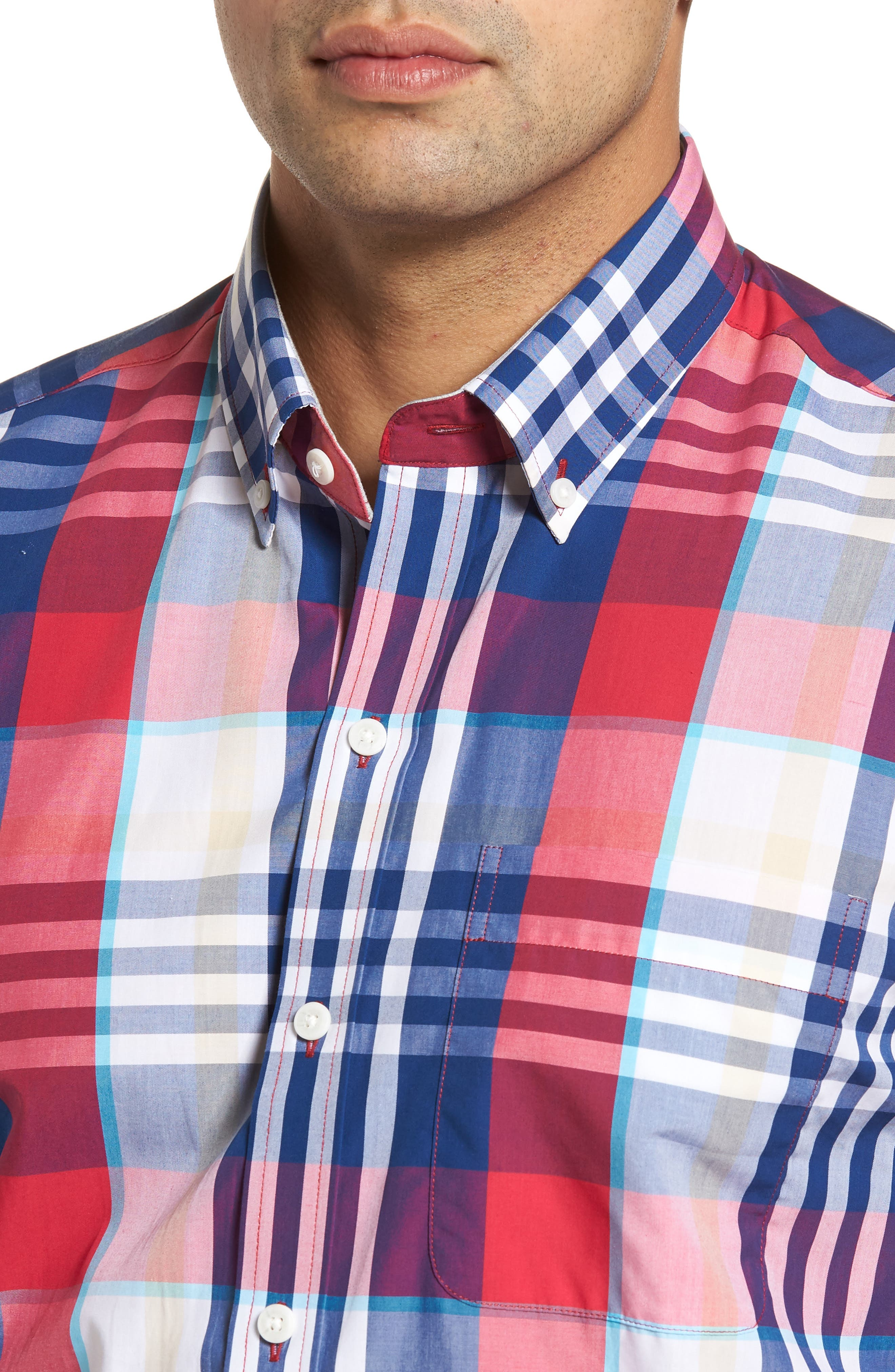 Alternate Image 4  - Cutter & Buck Cooper Classic Fit Non-Iron Plaid Sport Shirt