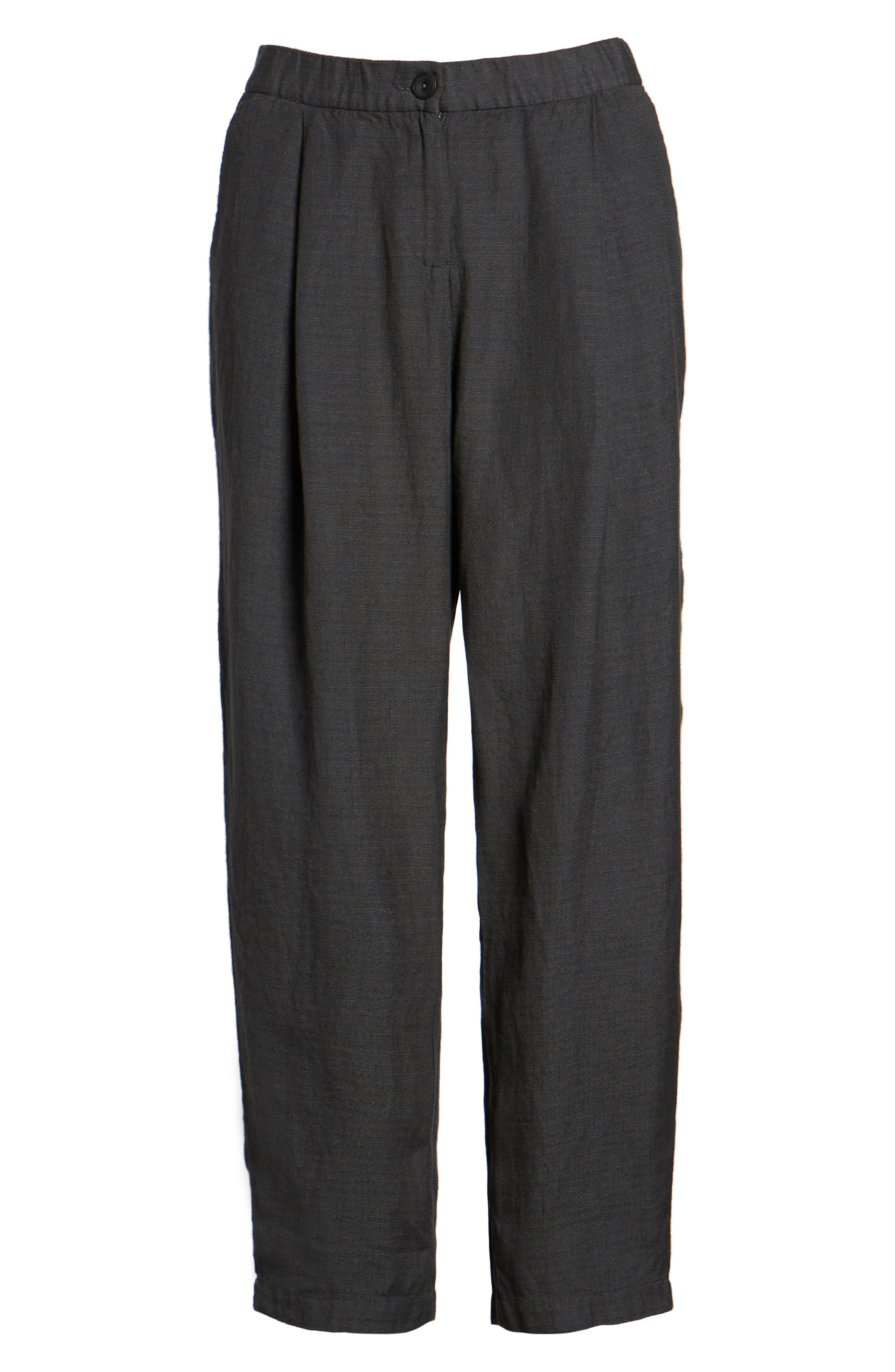 Pleated Linen Blend Ankle Trousers,                             Alternate thumbnail 7, color,                             Graphite