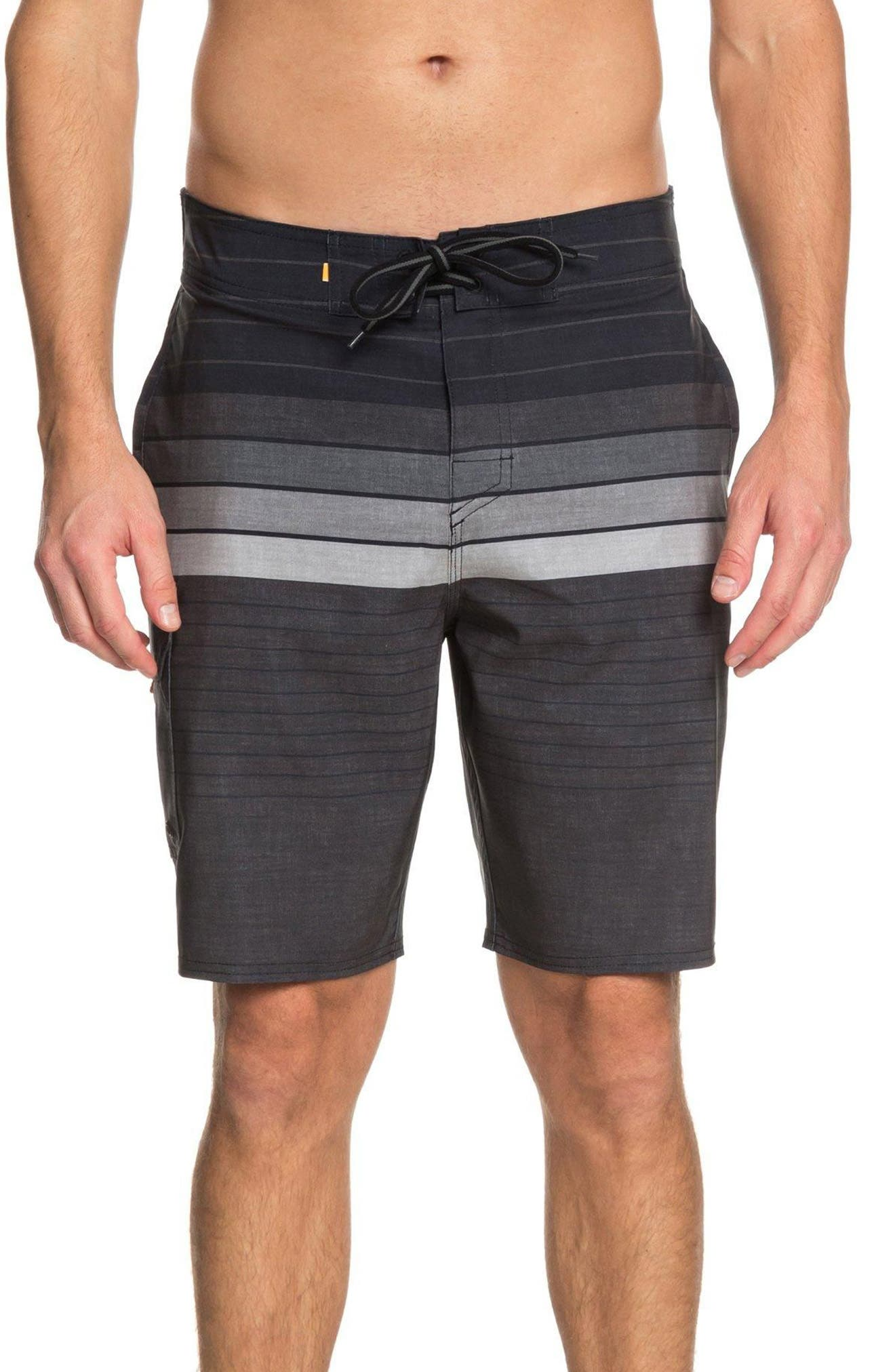 Admiral Stripe Board Shorts,                             Main thumbnail 1, color,                             Black