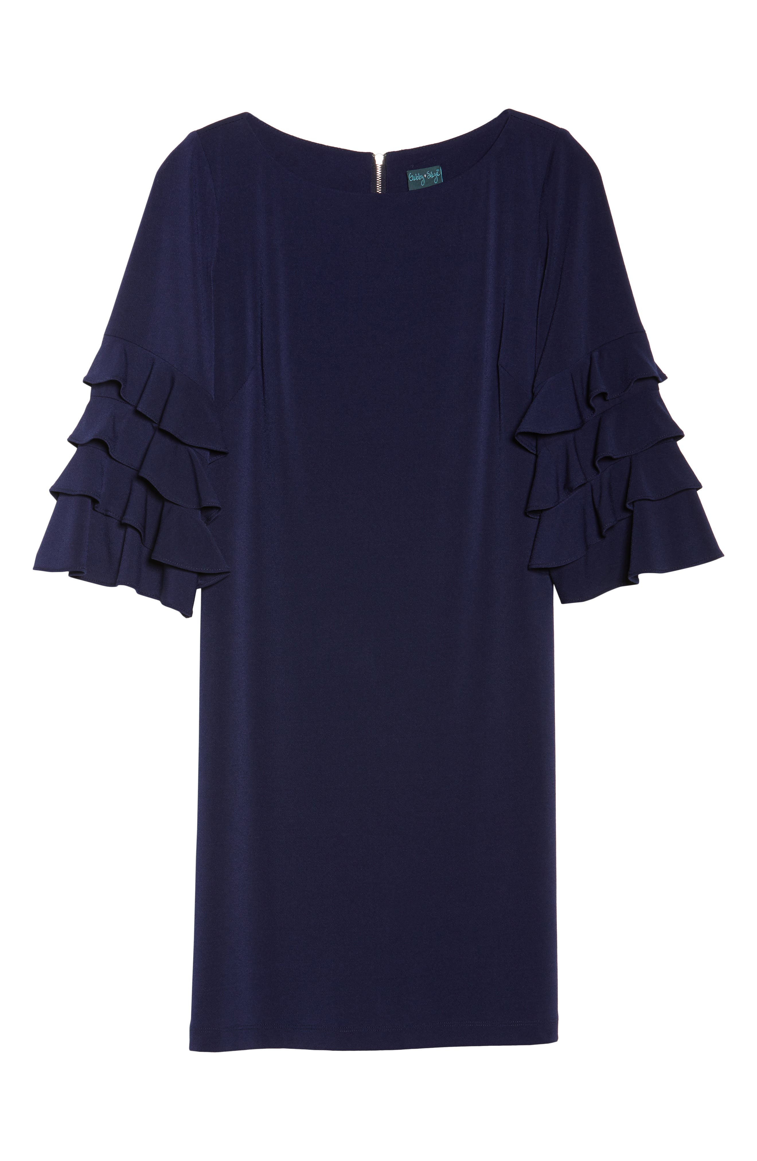 Tiered Sleeve Crepe Shift Dress,                             Alternate thumbnail 6, color,                             Navy