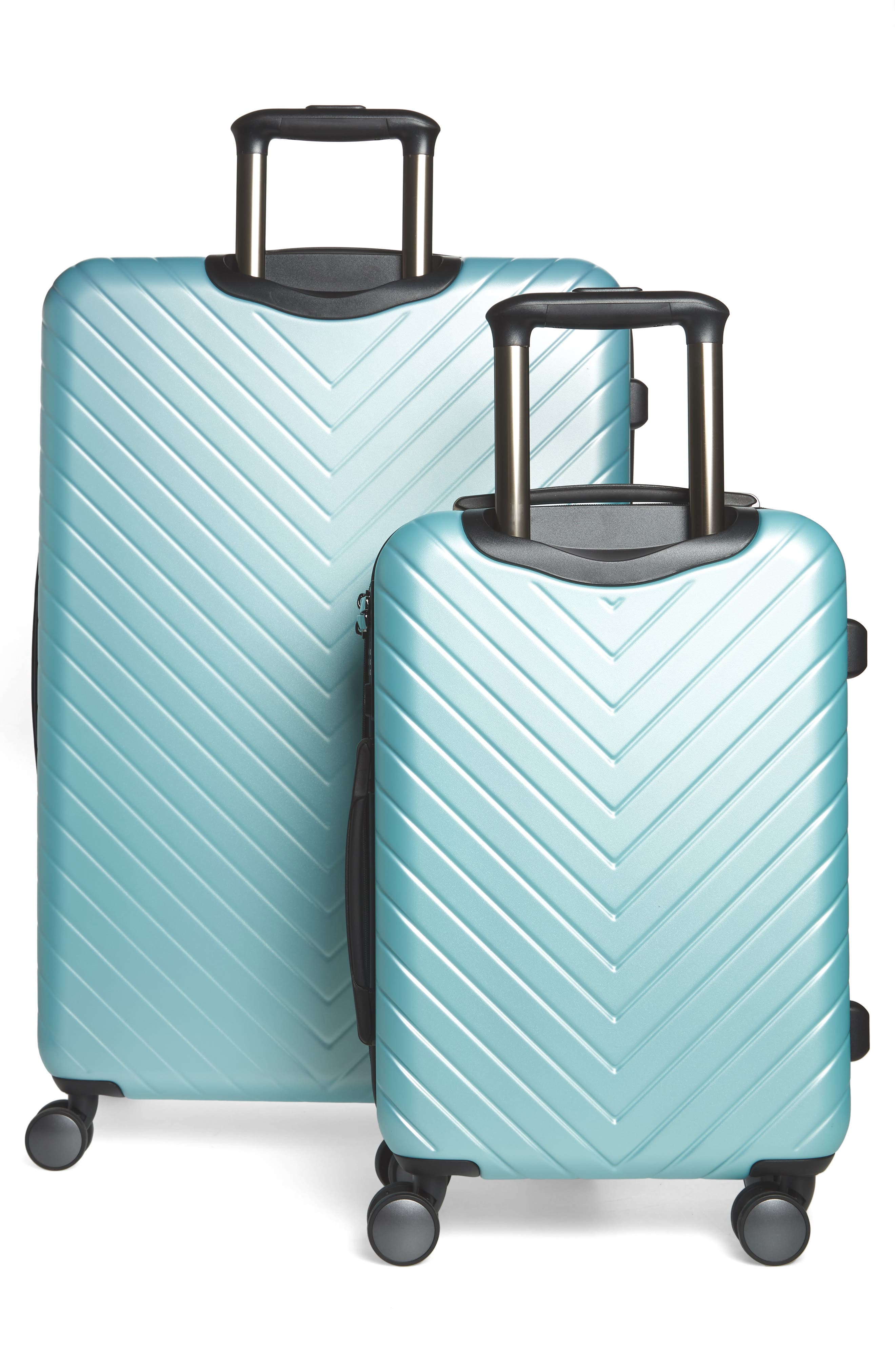 Chevron 29-Inch & 20-Inch Spinner Luggage Set,                             Alternate thumbnail 4, color,                             Teal Surf