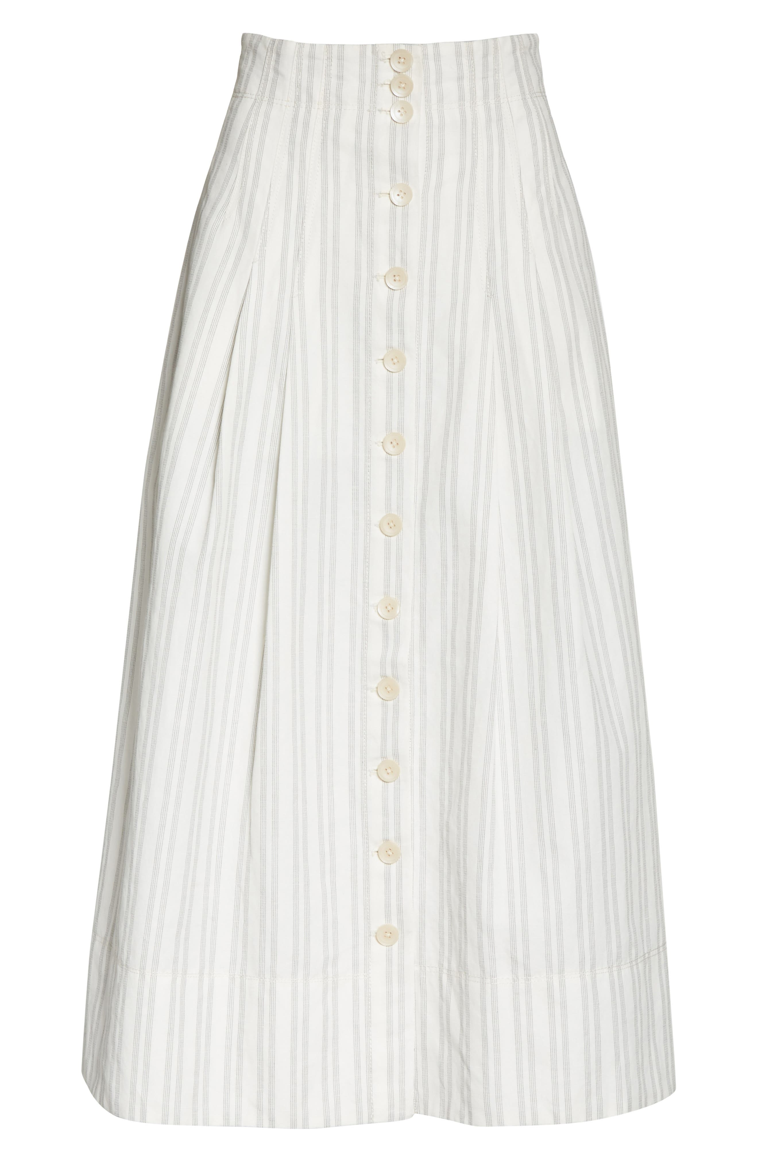 Stripe Midi Skirt,                             Alternate thumbnail 6, color,                             Snow/ Black