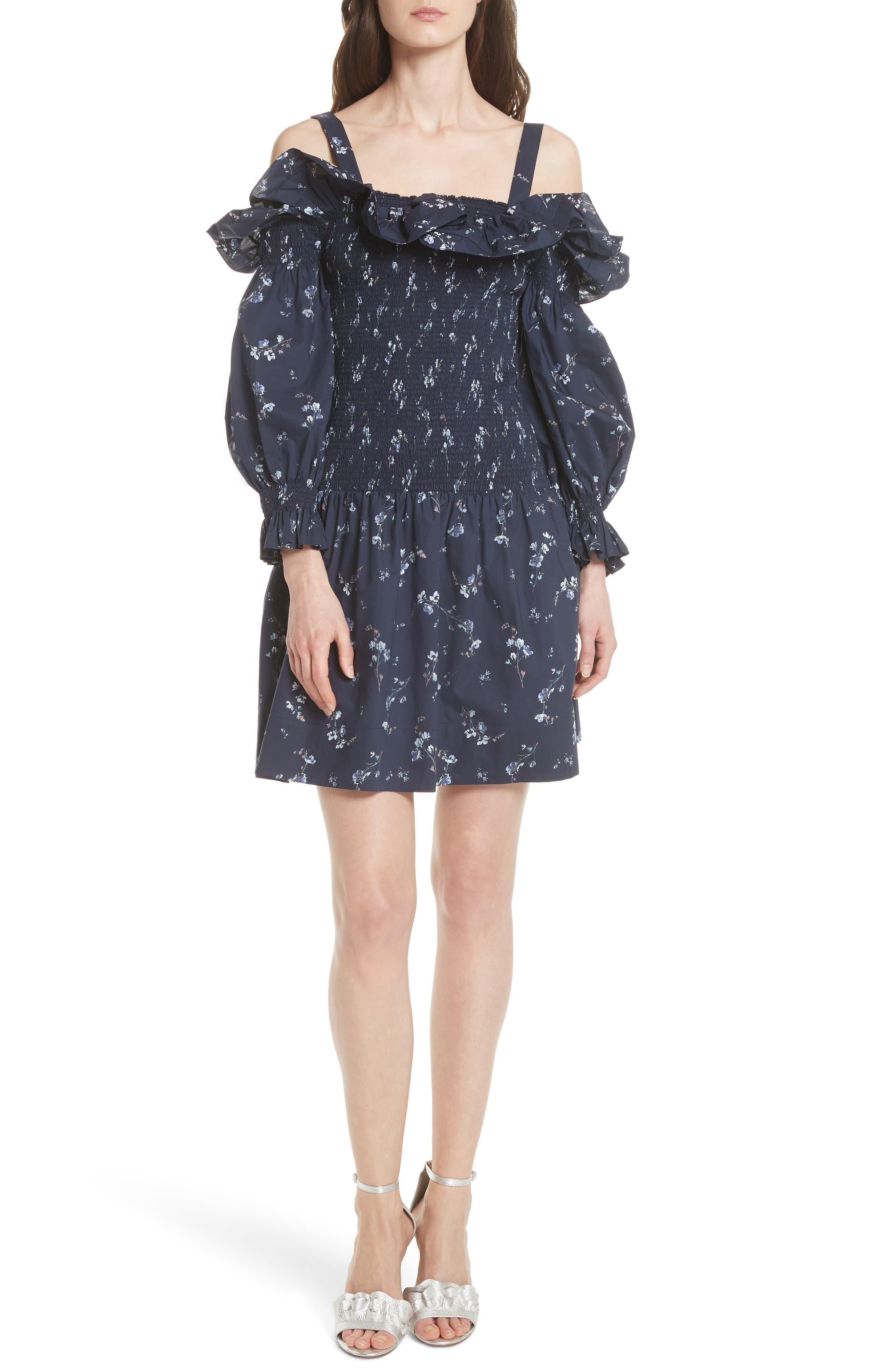Francine Cold Shoulder Dress,                             Main thumbnail 1, color,                             Navy Combo