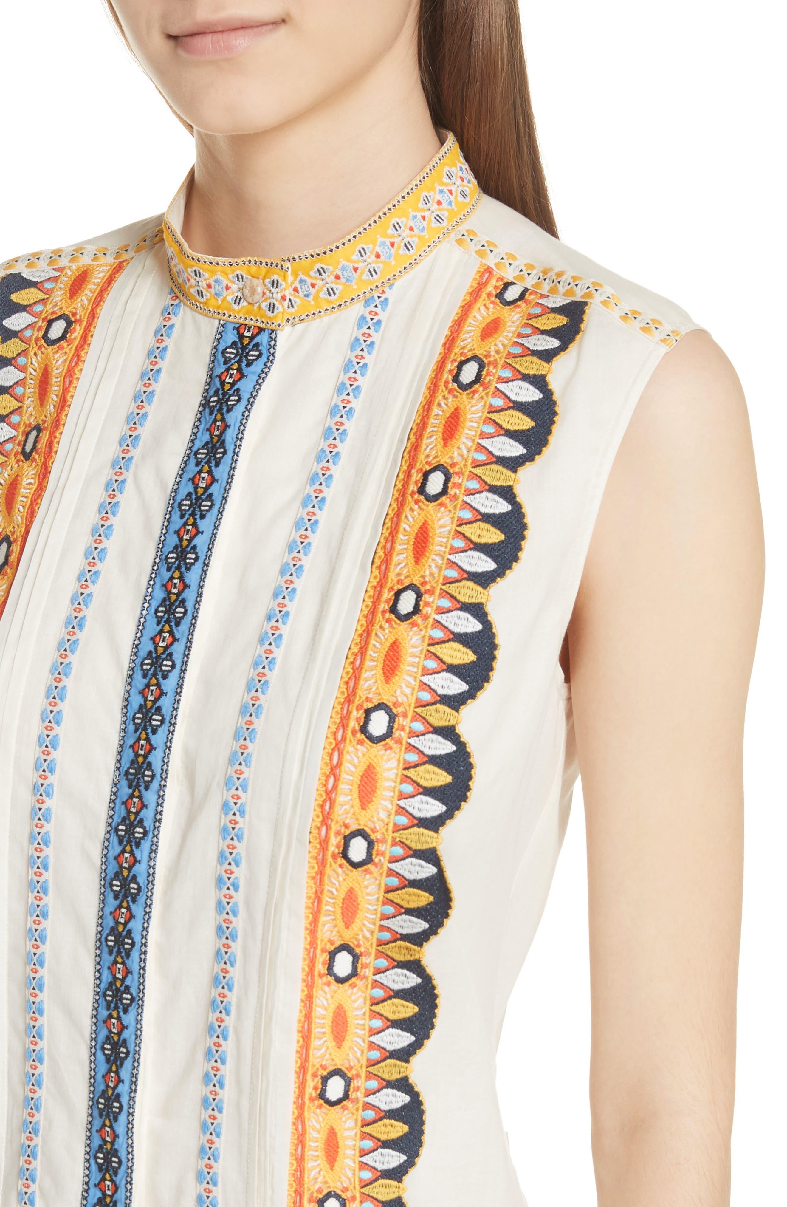 Adriana Sleeveless Shirtdress,                             Alternate thumbnail 4, color,                             New Ivory