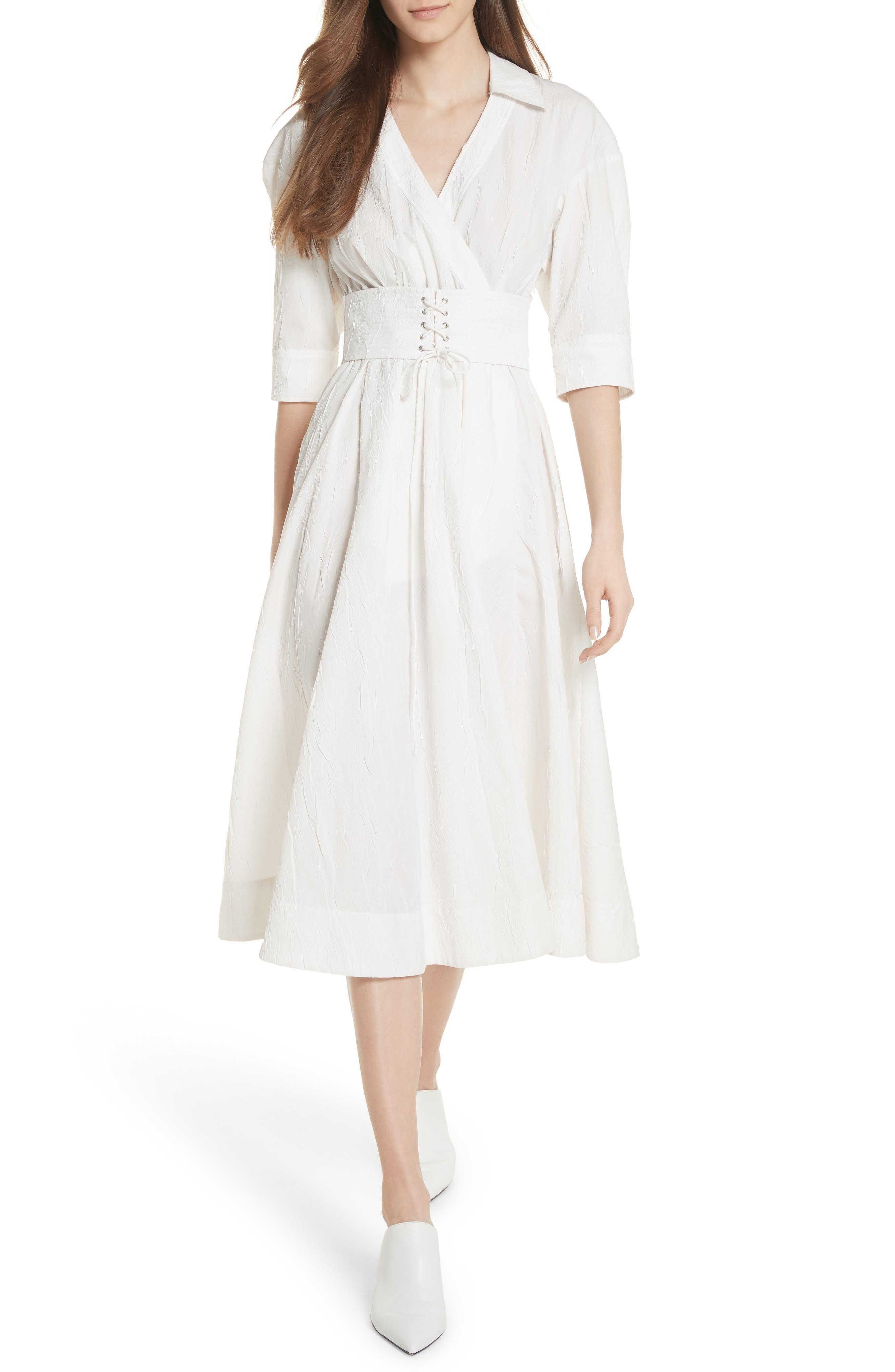 Corset Detail Shirtdress,                         Main,                         color, Soft White