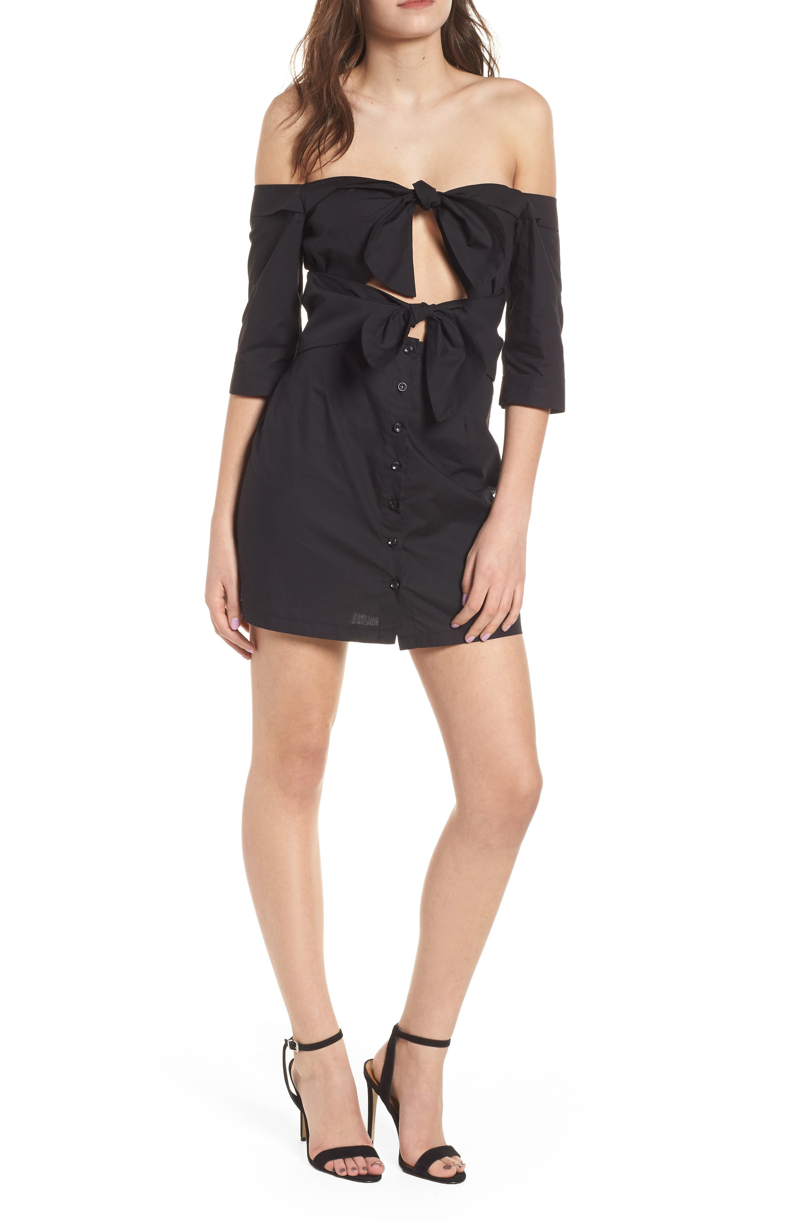 Ultimate Desire Off the Shoulder Minidress,                             Main thumbnail 1, color,                             Black