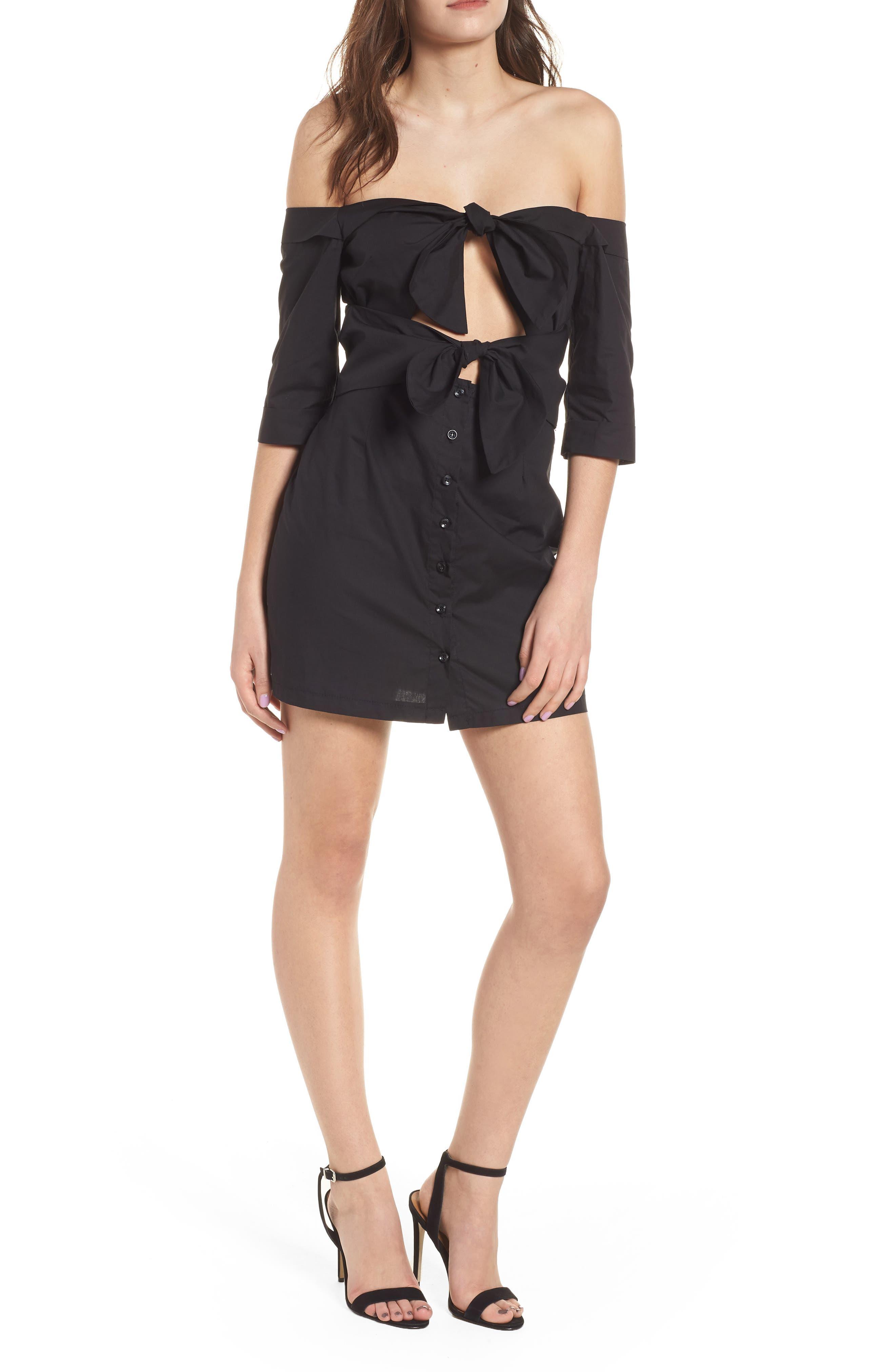 Ultimate Desire Off the Shoulder Minidress,                         Main,                         color, Black
