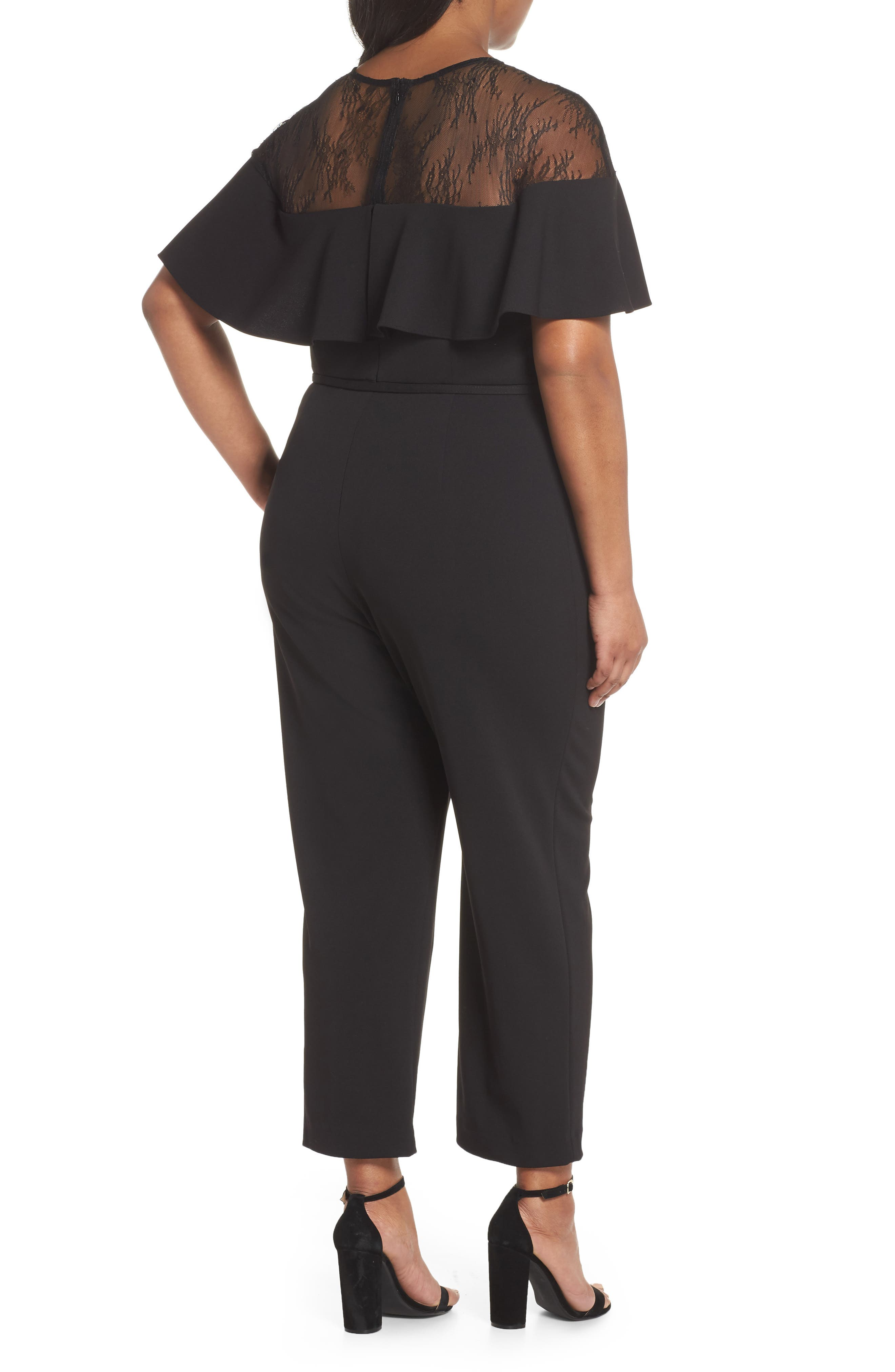 Lace Illusion Ruffle Jumpsuit,                             Alternate thumbnail 2, color,                             Black