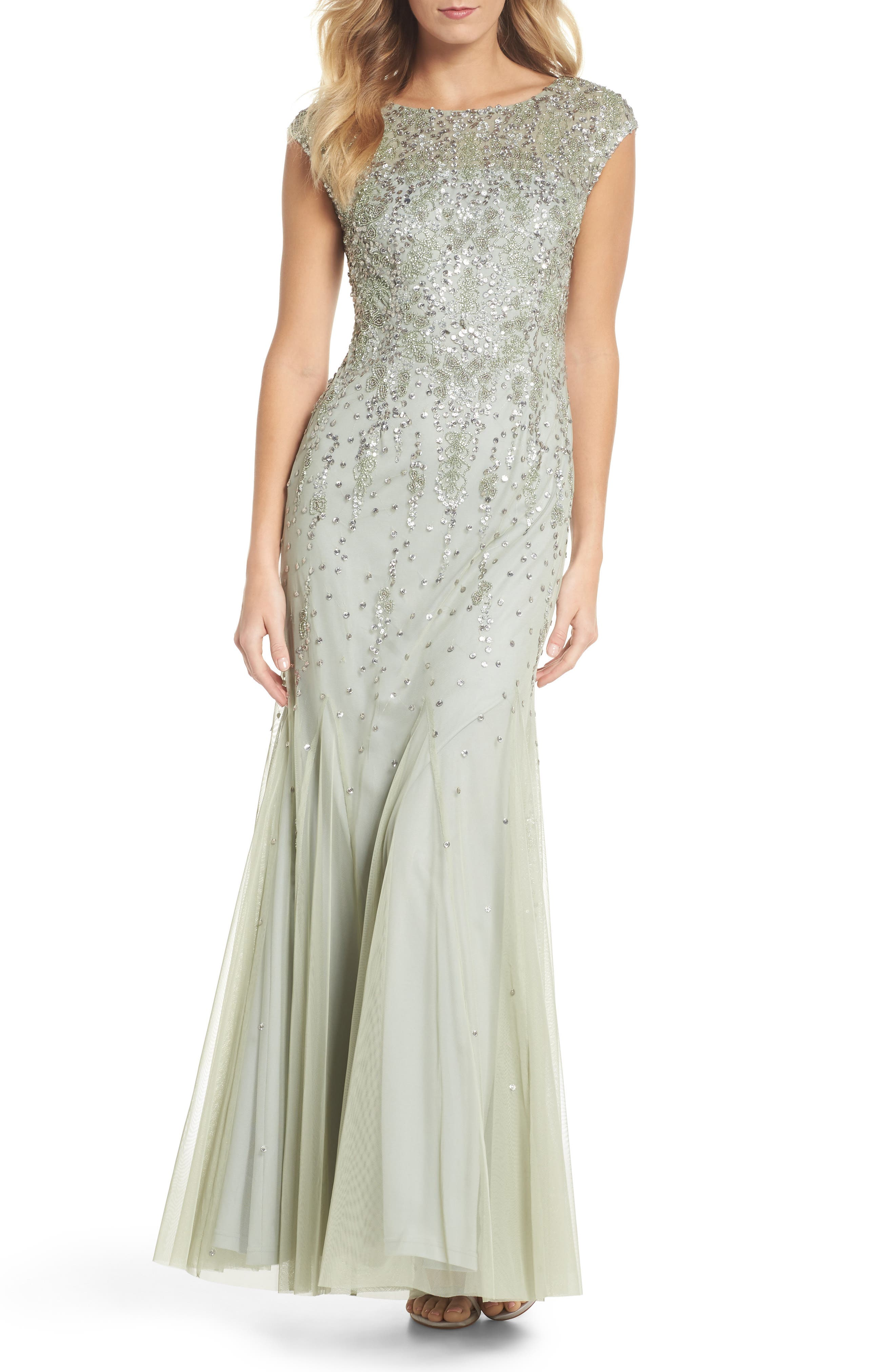 Beaded Mermaid Gown,                         Main,                         color, Mint