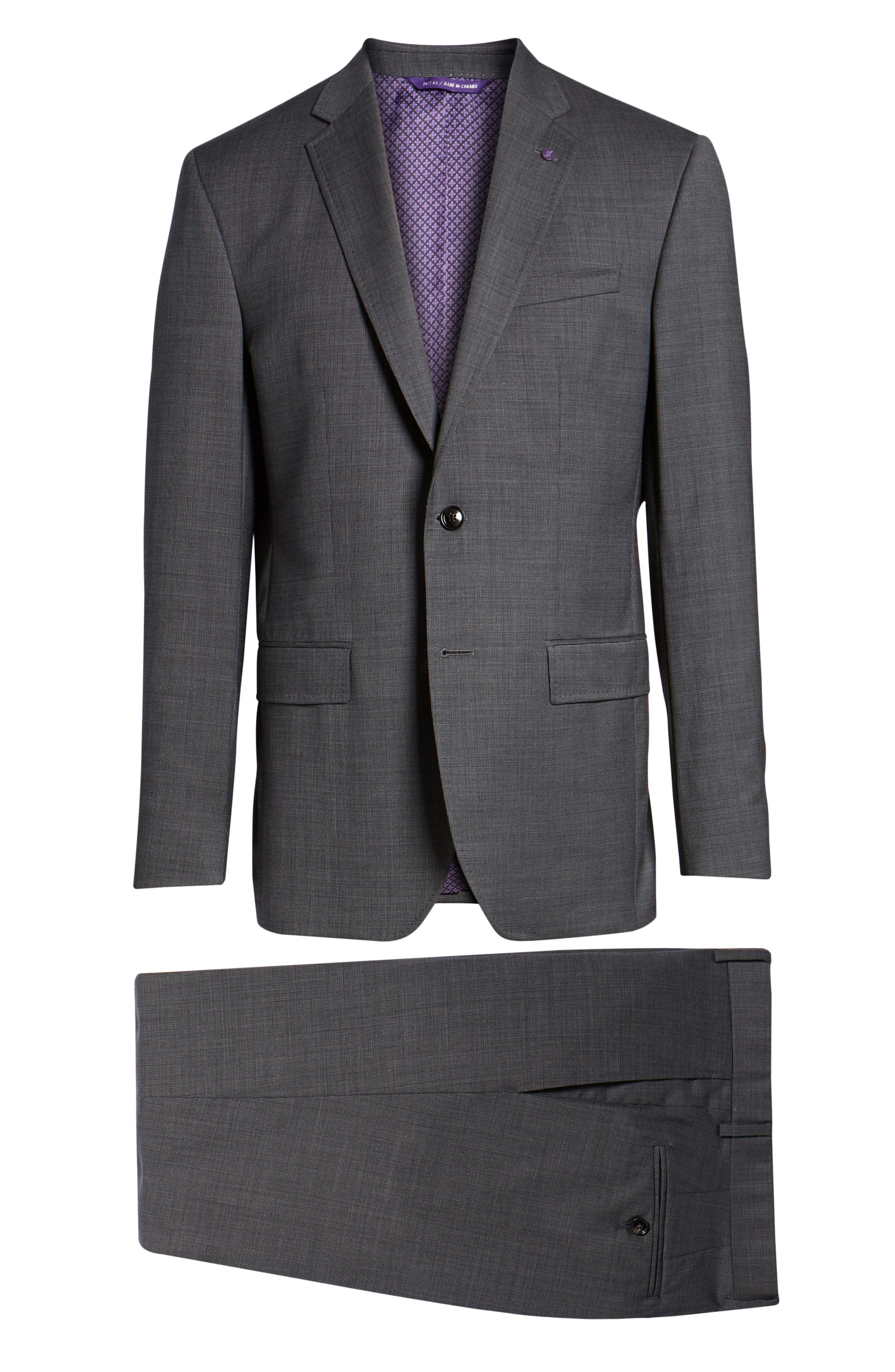 Jay Trim Fit Solid Wool Suit,                             Alternate thumbnail 8, color,                             Grey