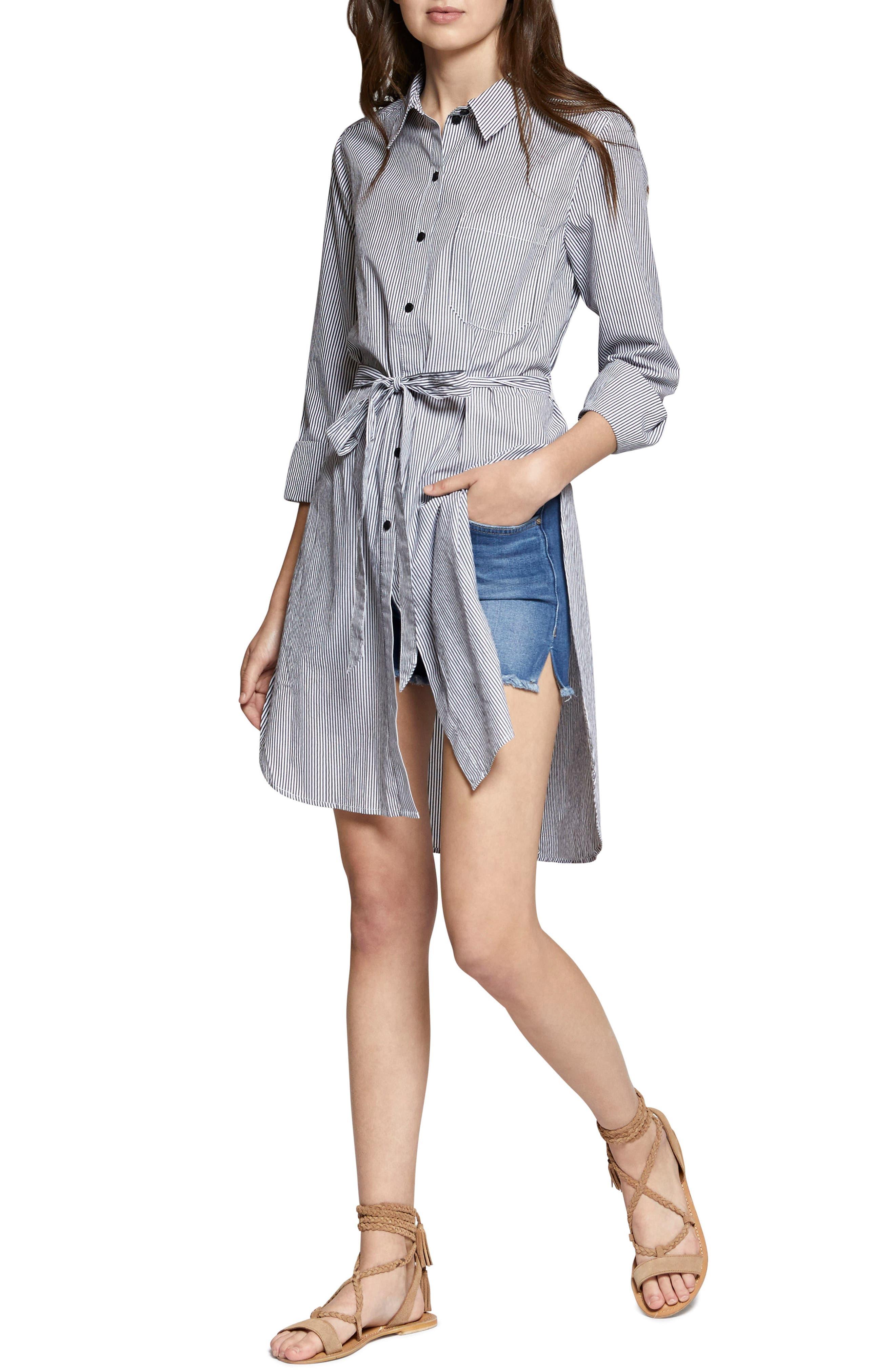 Taegan Stripe Tunic Shirt,                             Alternate thumbnail 4, color,                             Black/ White Stripe