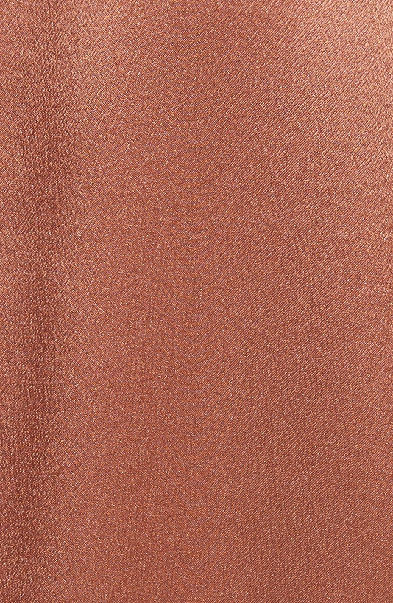 Seam Front Silk Dress,                             Alternate thumbnail 5, color,                             Terracotta