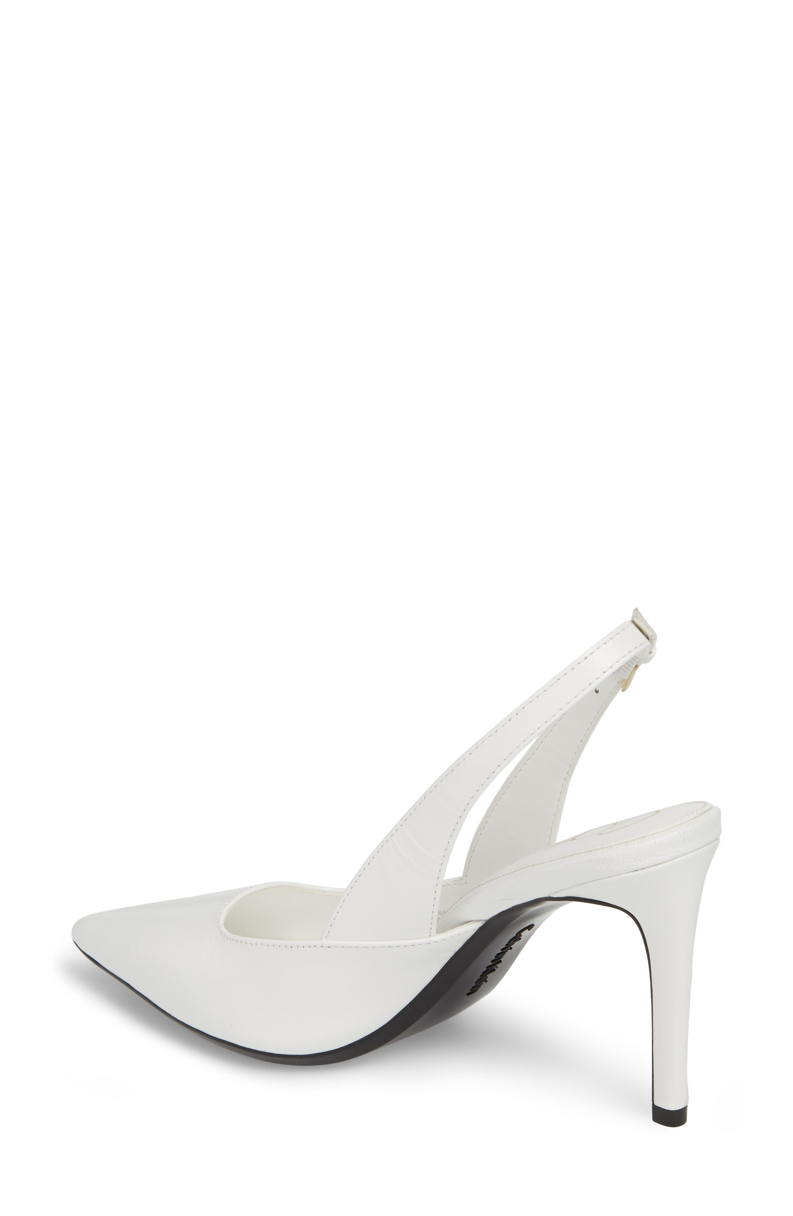 Rielle Slingback Pump,                             Alternate thumbnail 2, color,                             Platinum White Leather