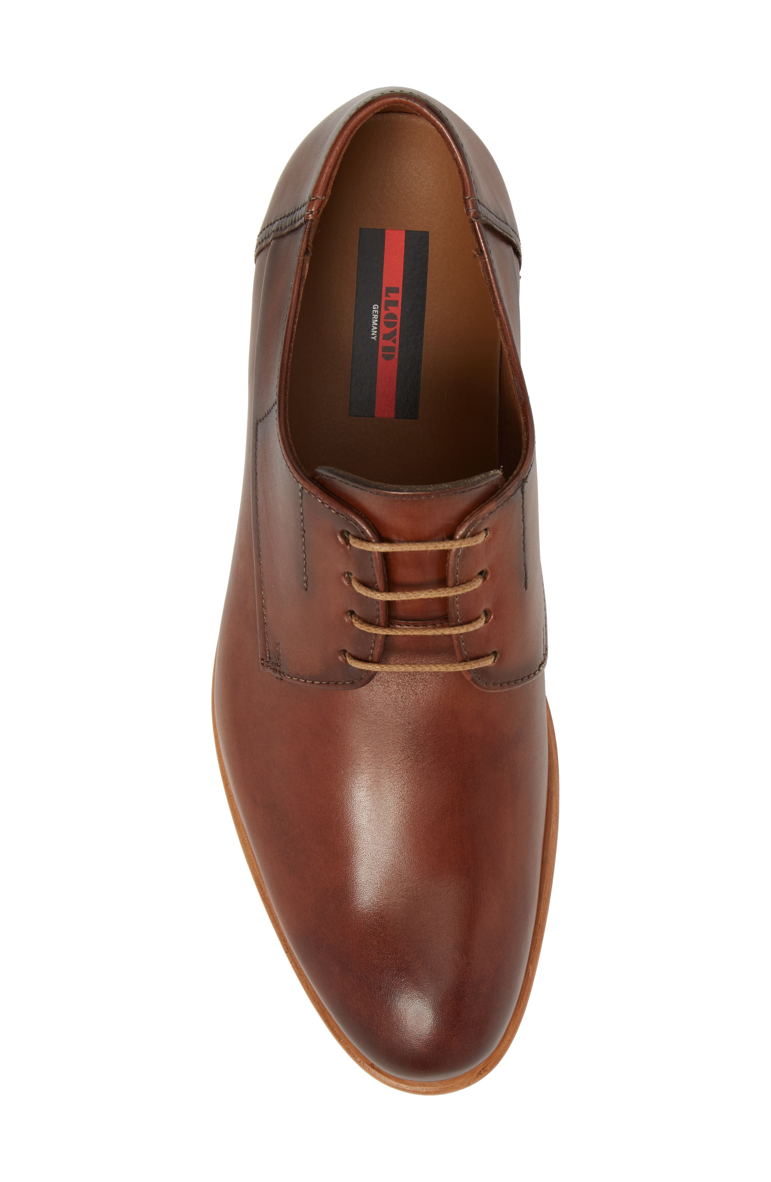 Nansen Plain Toe Derby,                             Alternate thumbnail 5, color,                             Cognac Leather