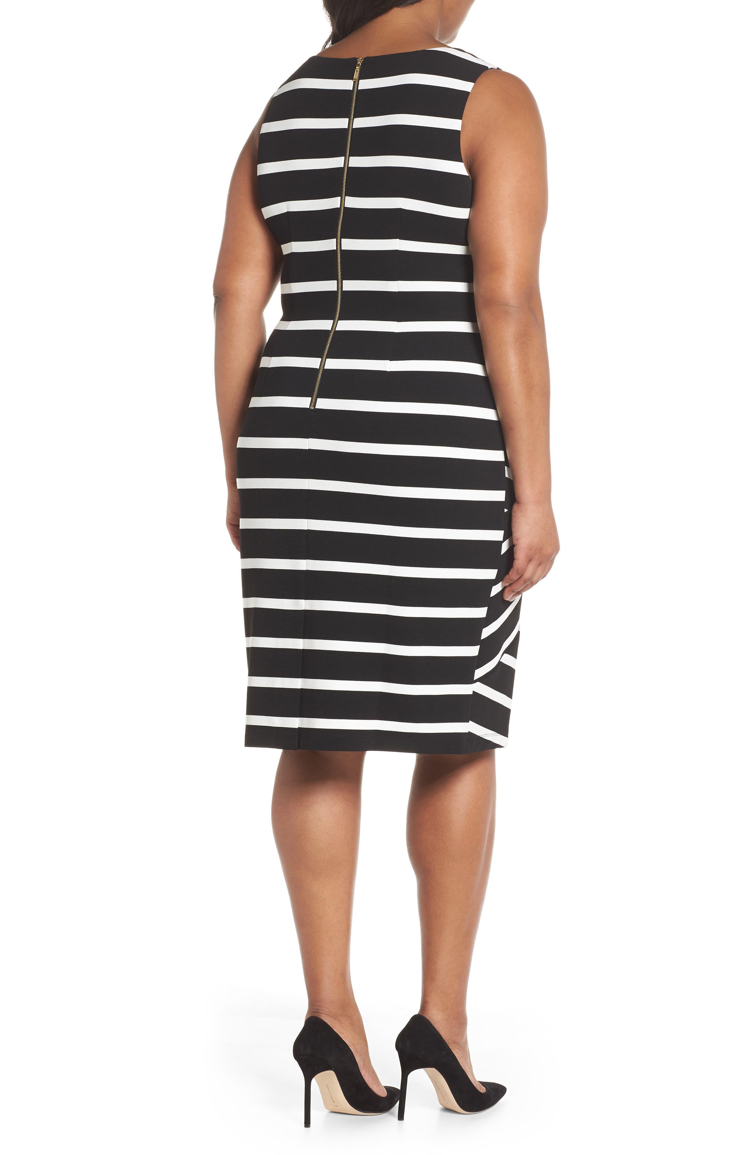 Ottoman Striped Sheath Dress,                             Alternate thumbnail 2, color,                             Black/ Ivory