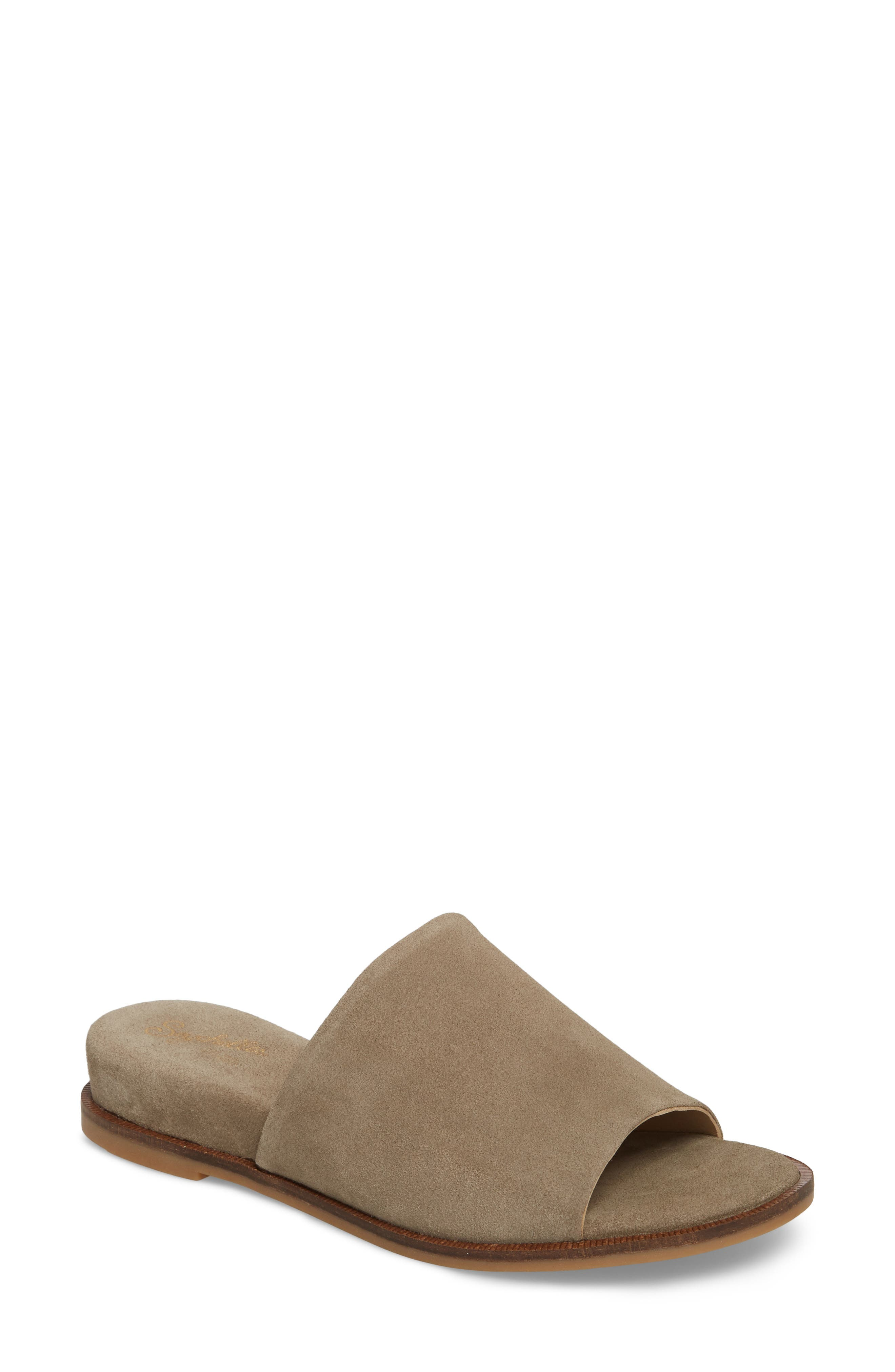 Relaxing Wedge Slide Sandal,                             Main thumbnail 1, color,                             Taupe Leather
