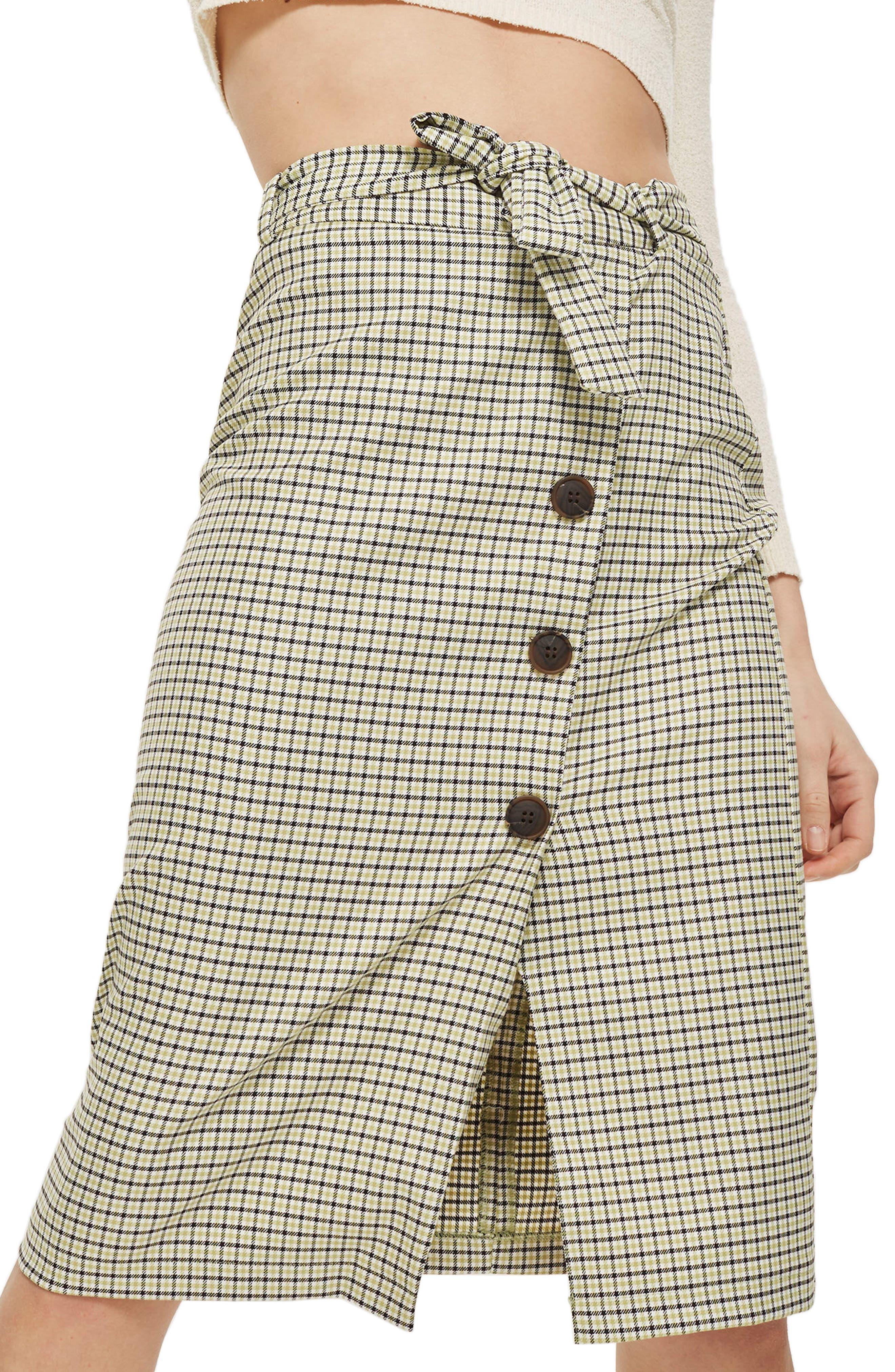 Topshop Button Plaid Skirt