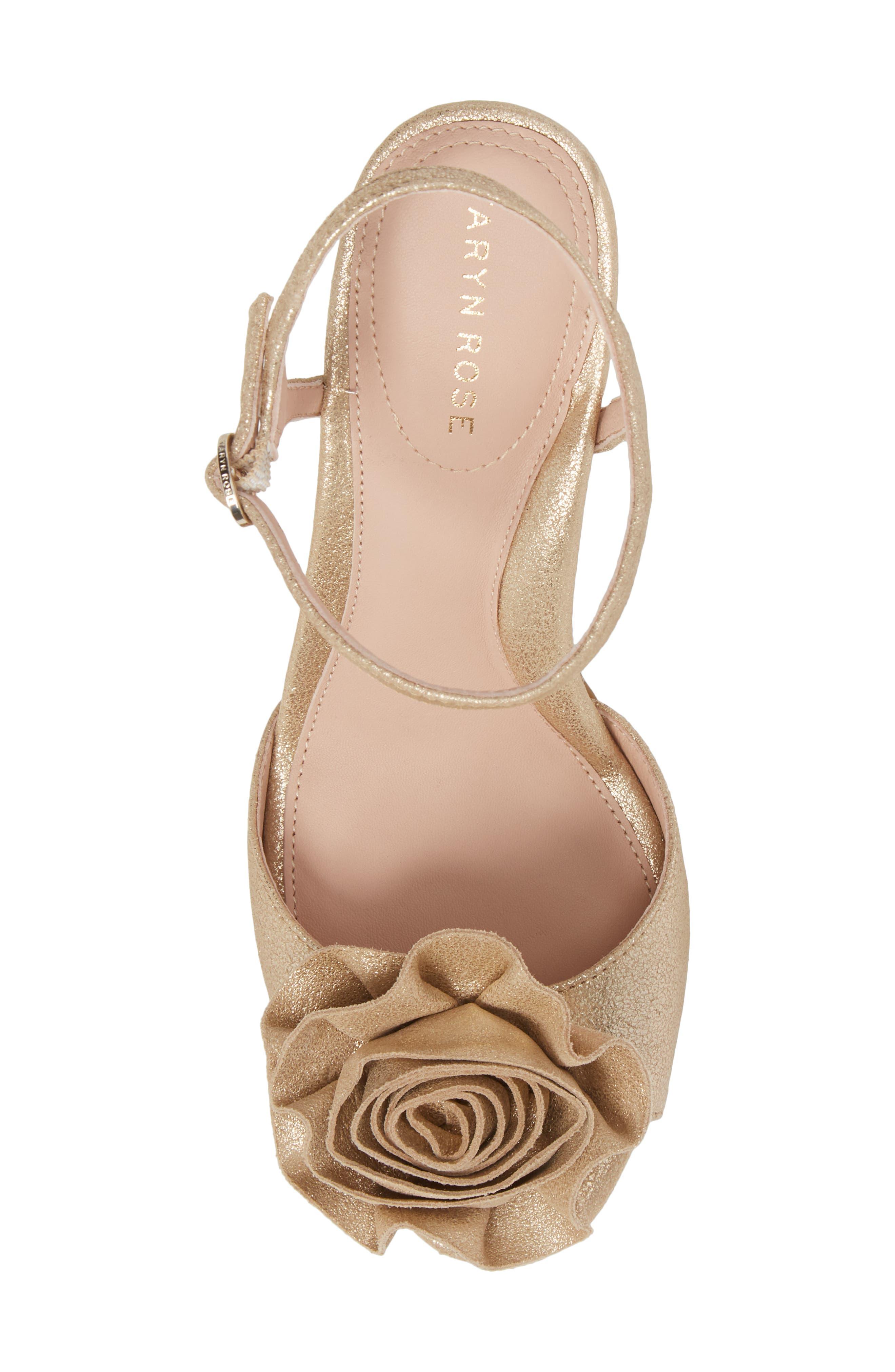 Jacklyn Flower Sandal,                             Alternate thumbnail 5, color,                             Gold Shimmer Fabric