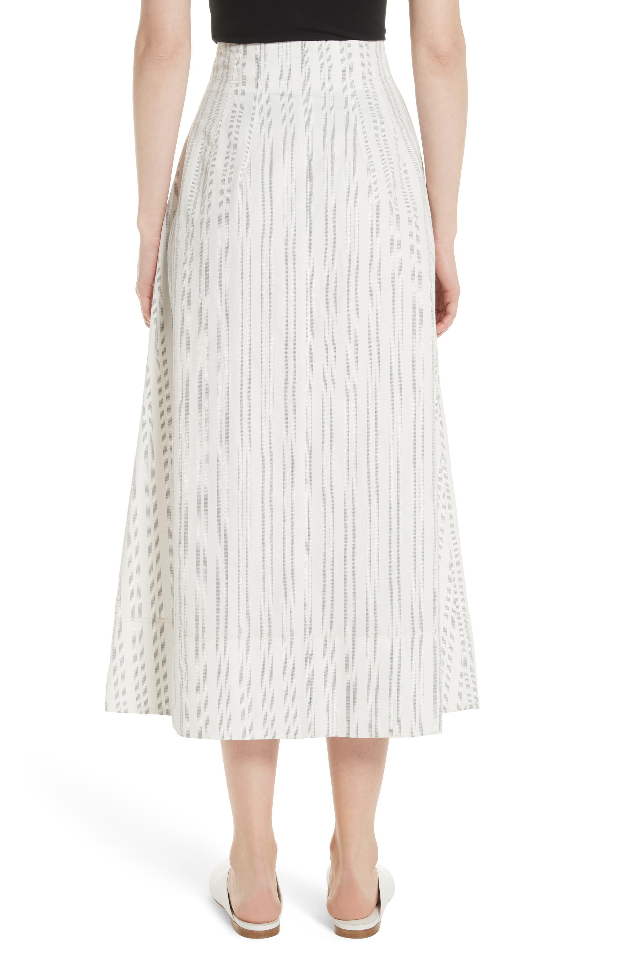 Stripe Midi Skirt,                             Alternate thumbnail 2, color,                             Snow/ Black