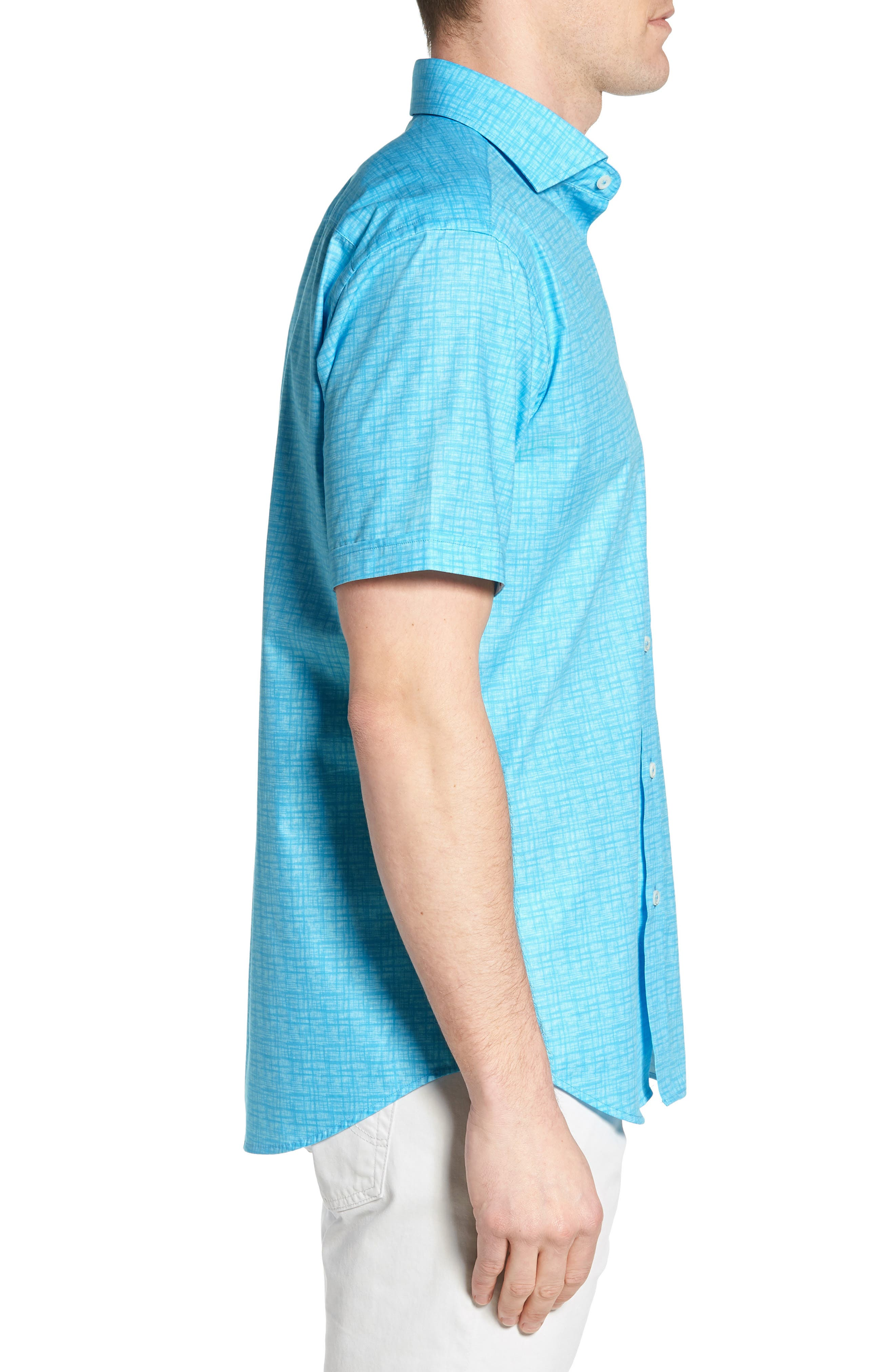 Freehand Shaped Fit Sport Shirt,                             Alternate thumbnail 3, color,                             Aqua